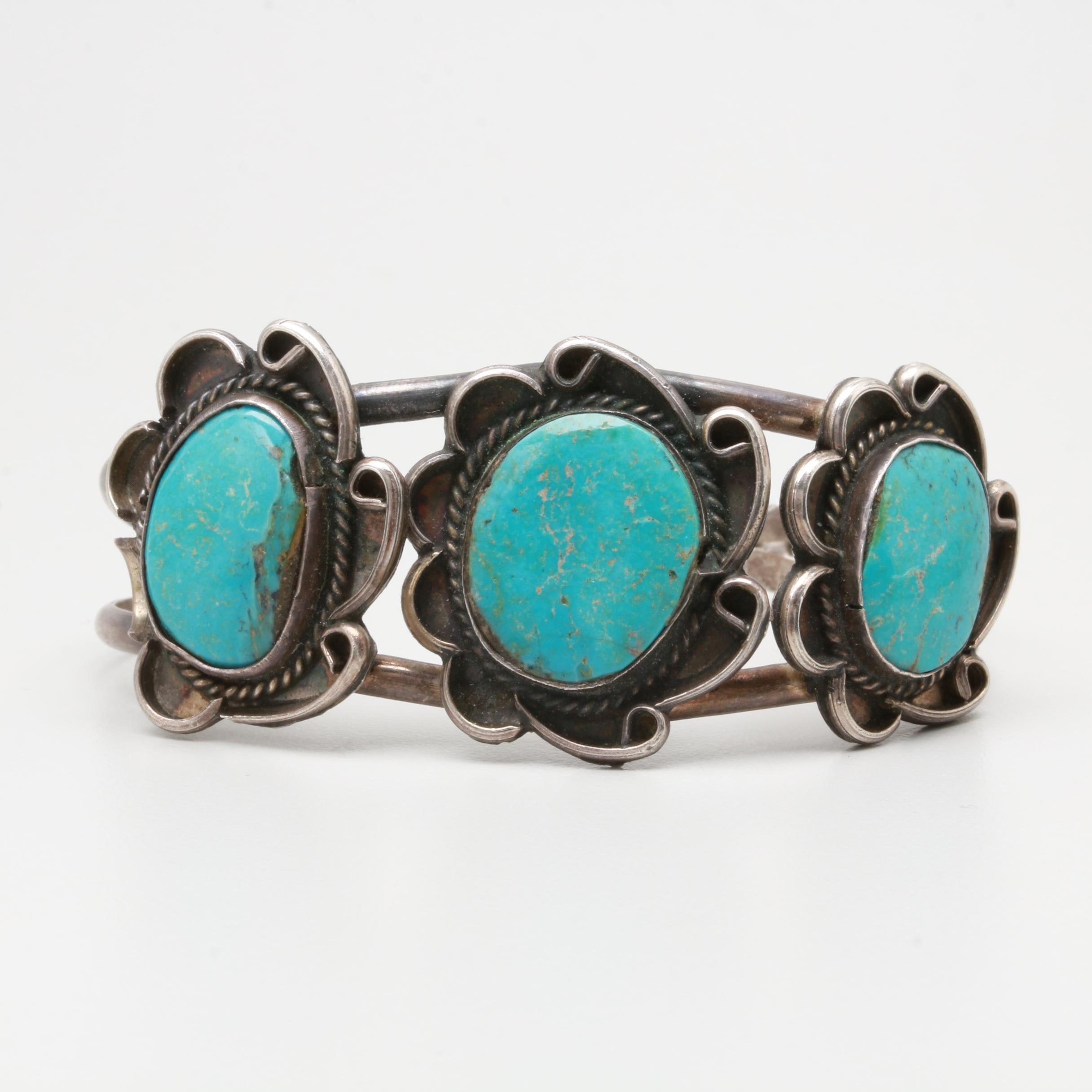 Herman Smith Navajo Diné Sterling Silver Turquoise Cuff