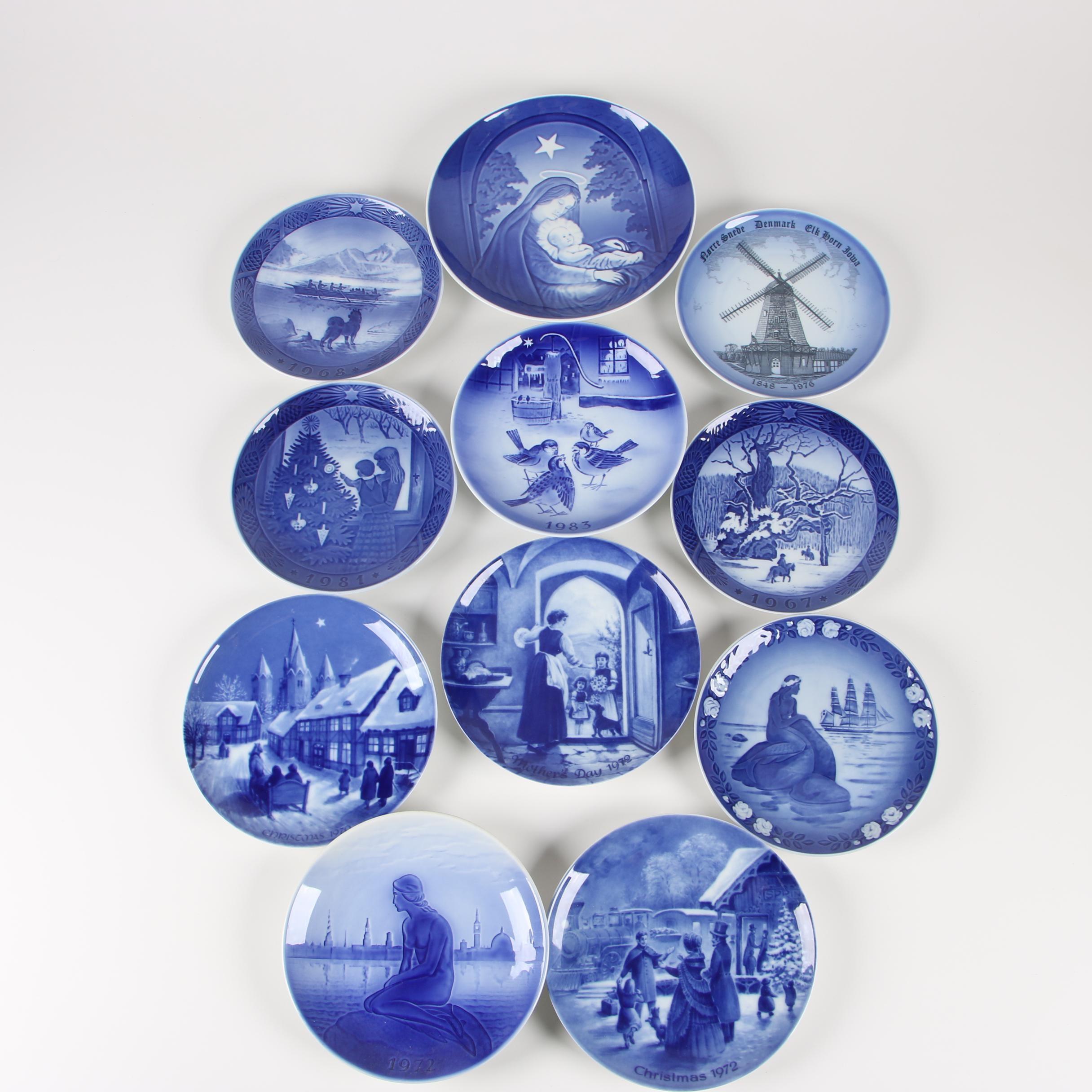 Vintage Porcelain Plates including Royal Copenhagen and Bing & Grøndahl