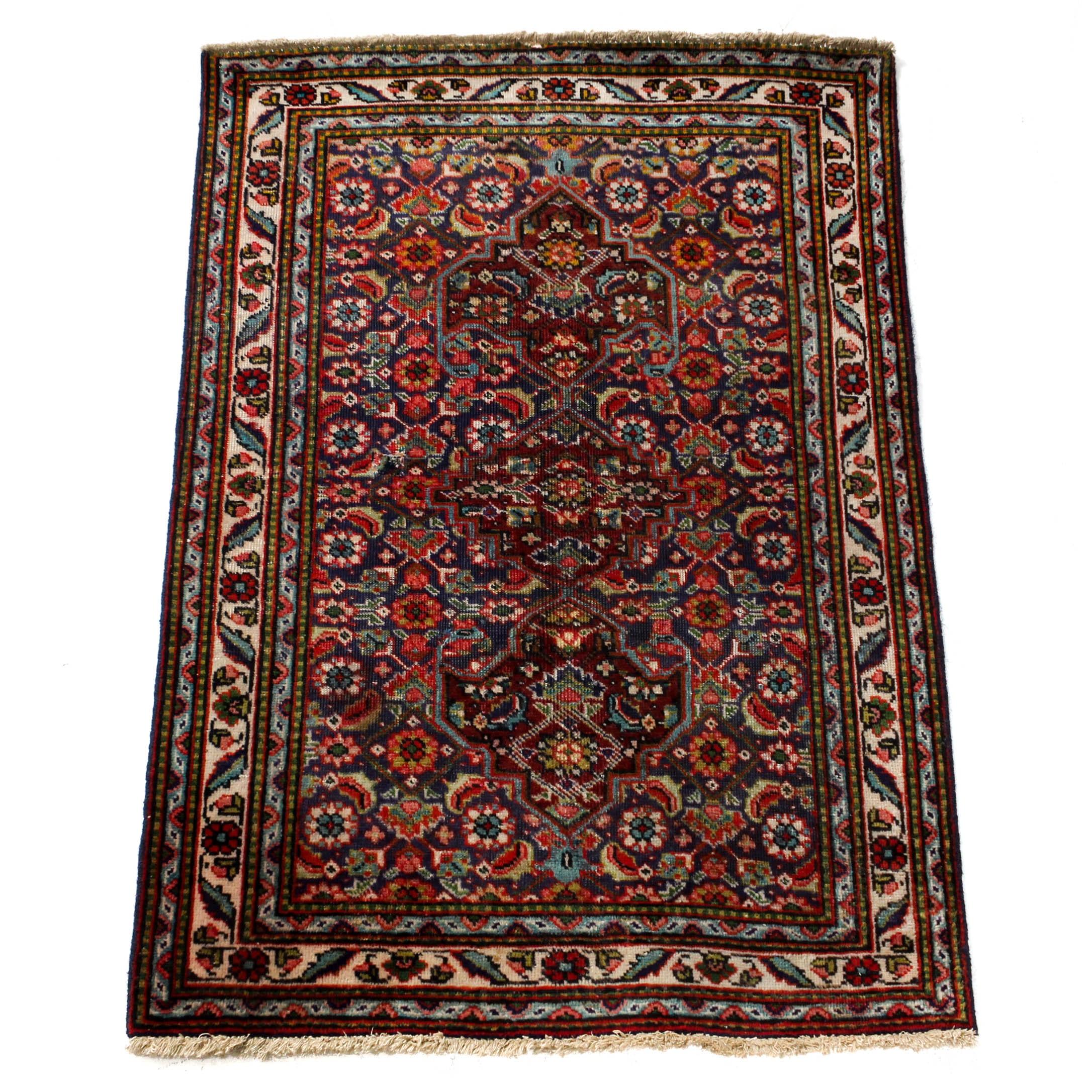 Vintage Hand-Knotted Persian Tabriz Rug