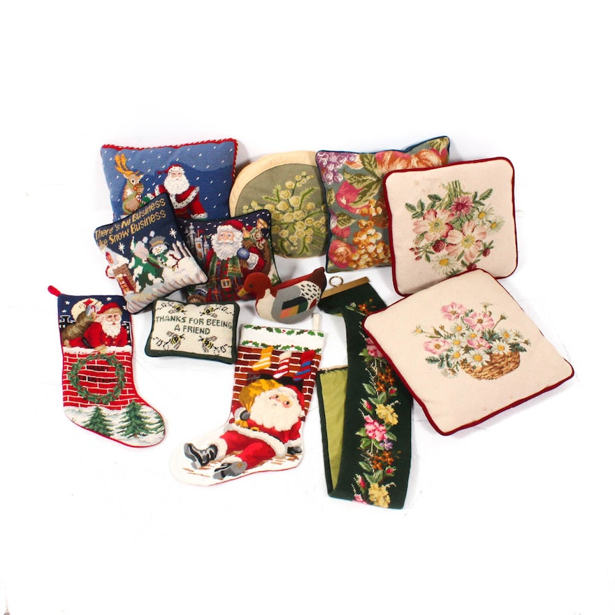 Vintage Needlepoint Christmas Stockings.Vintage Needlepoint Pillows Christmas Stockings And Bell Pull