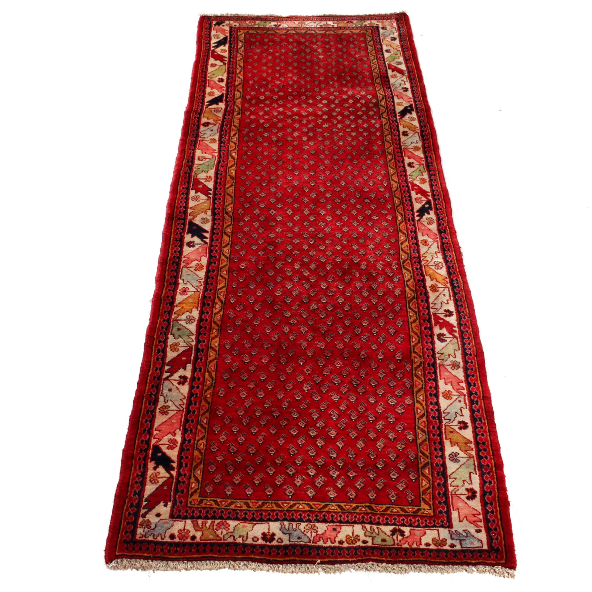Vintage Hand-Knotted Persian Boteh Sarouk Long Rug
