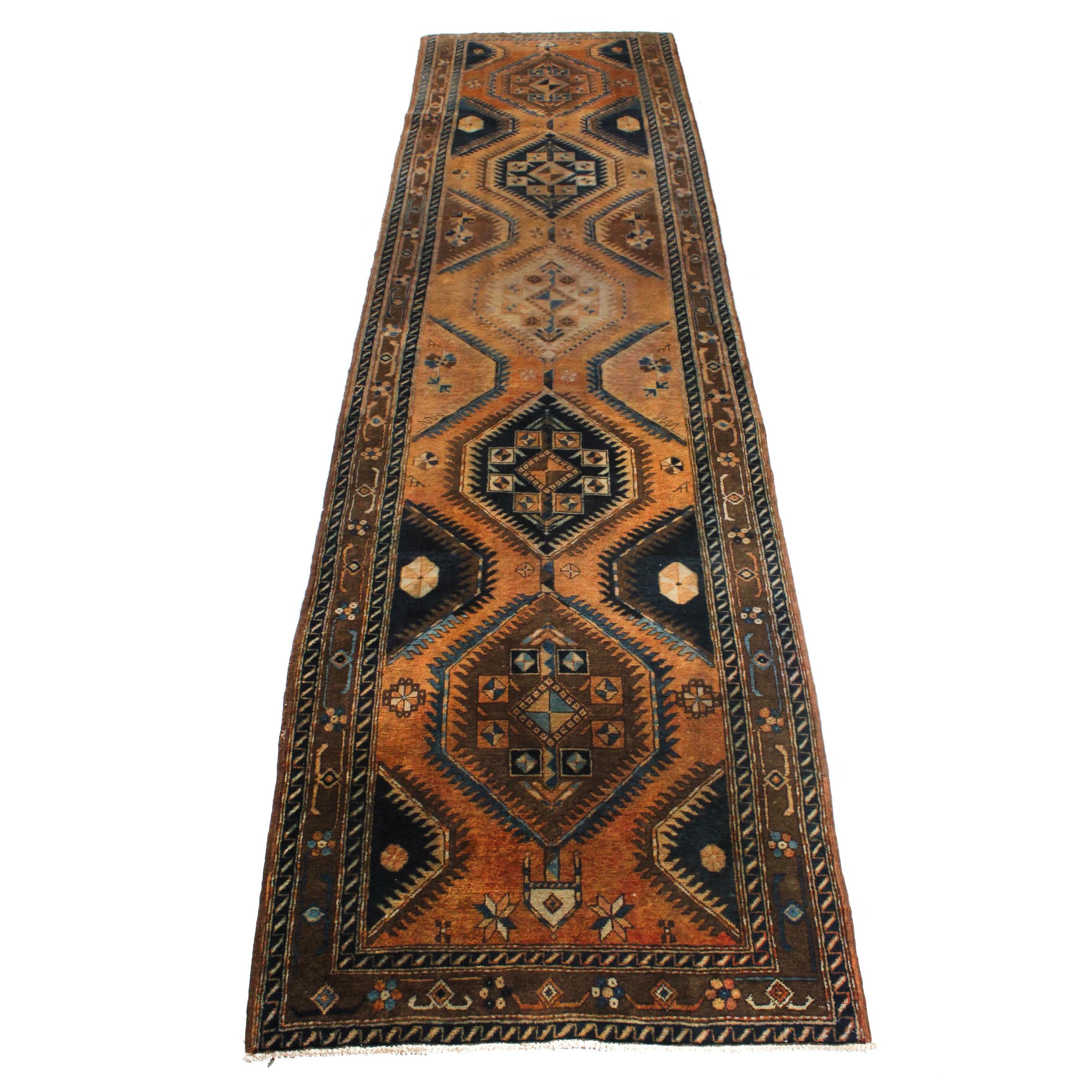 Vintage Hand-Knotted Indo-Persian Karaja Heriz Long Rug