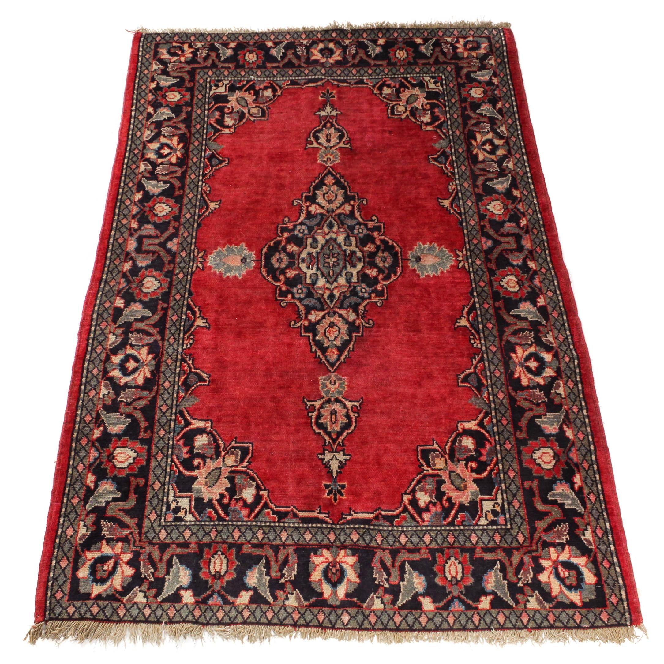 Vintage Hand-Knotted Indo-Persian Kashan Rug