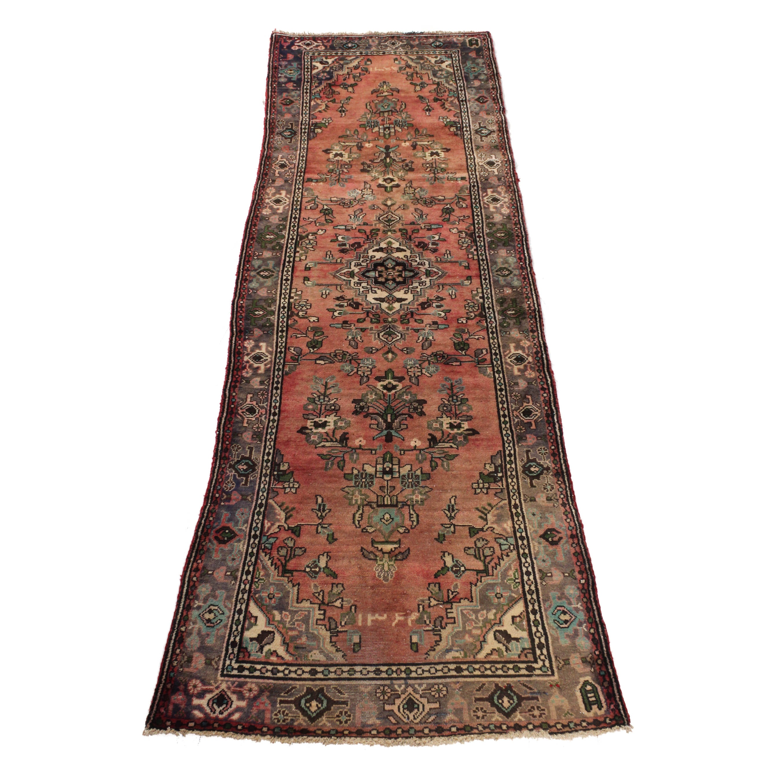 Vintage Hand-Knotted Dated Persian Malayer Sarouk Rug Runner