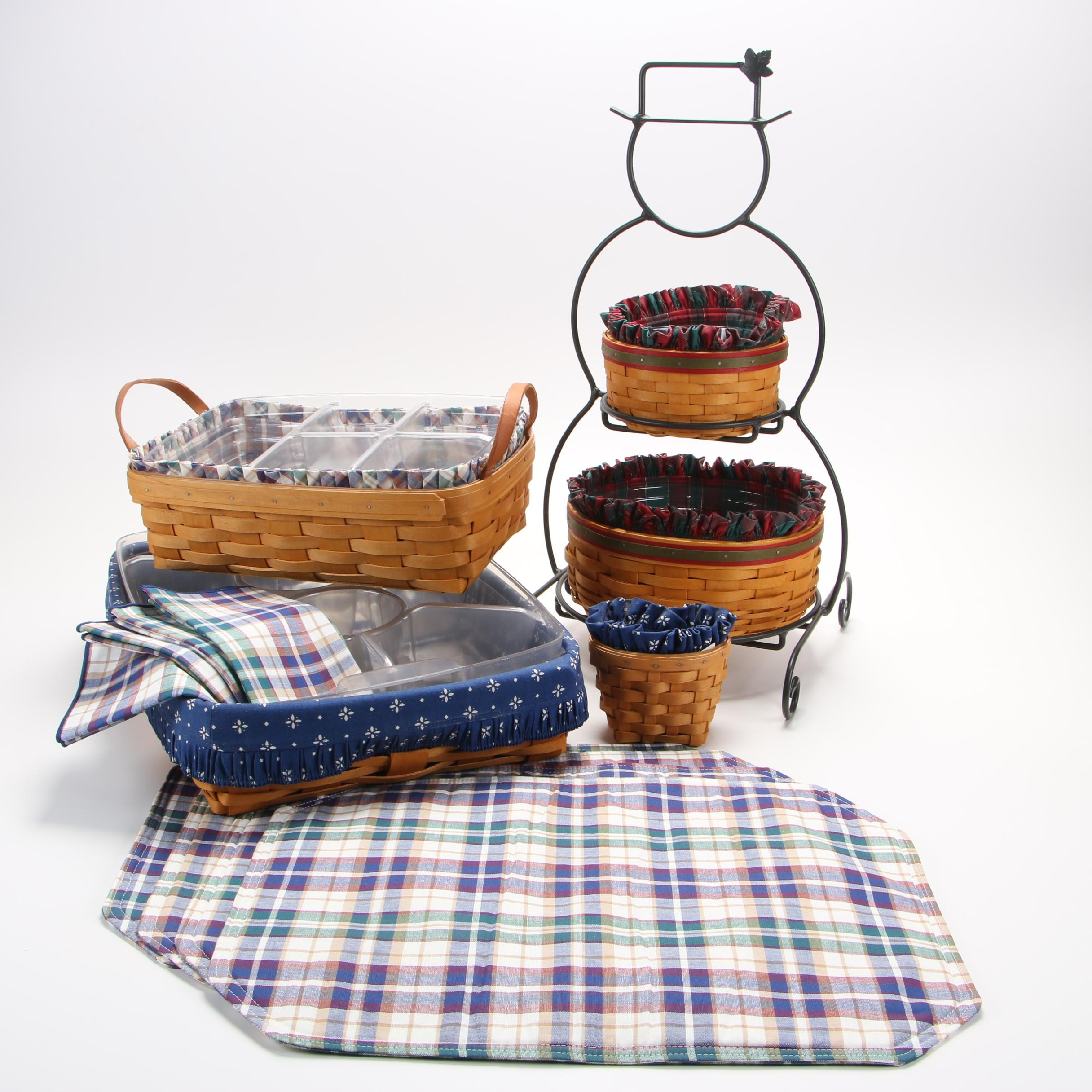 Longaberger Baskets with Tiered Snowman Stand