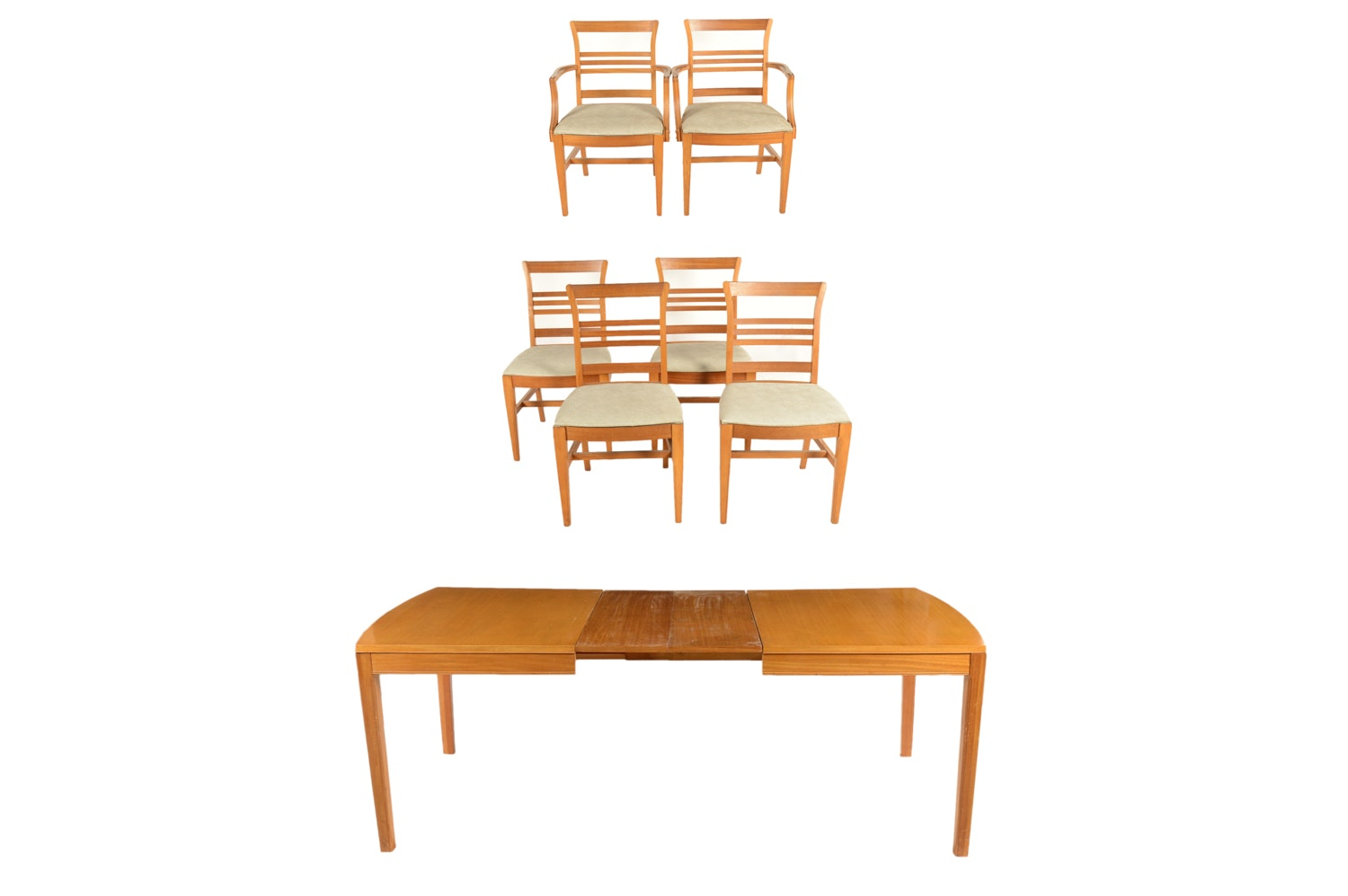 Mid-Century Modern Maple Finish Dining Table with Chairs