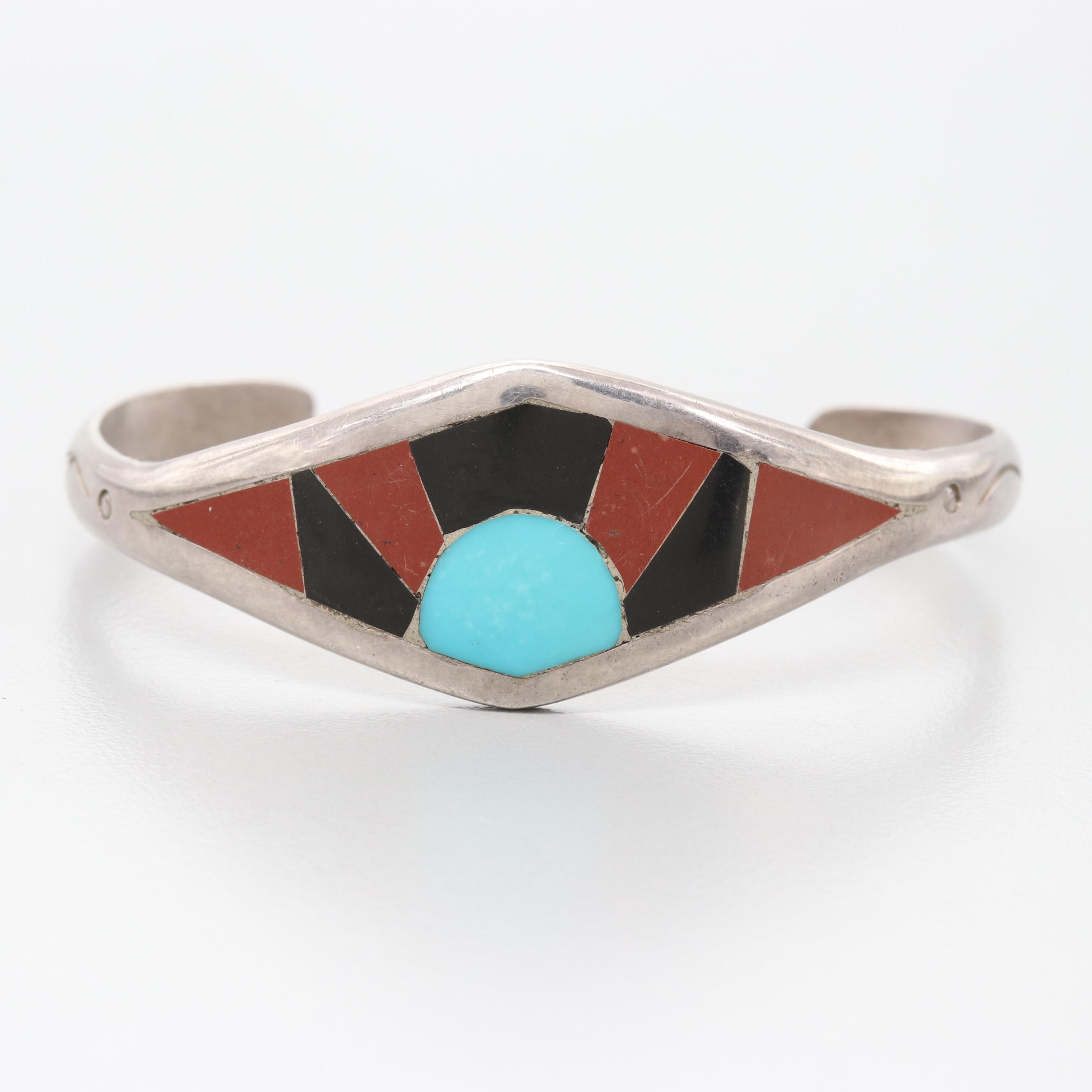 David Sandoval Navajo Diné Sterling Silver Jasper and Gemstone Cuff Bracelet