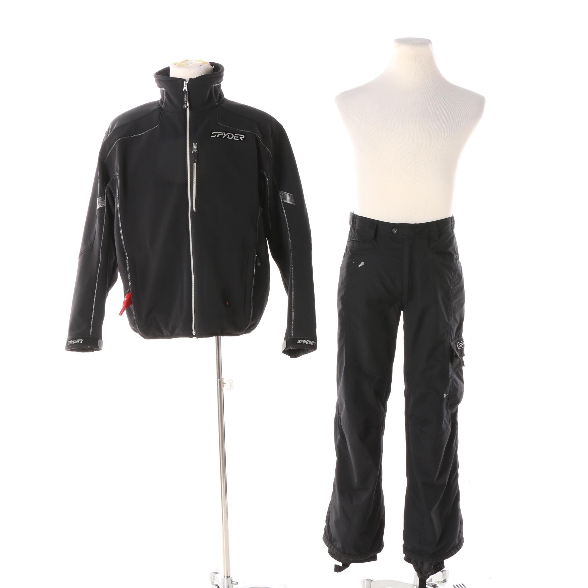 Men's Spyder Black Jacket and Snow Pants