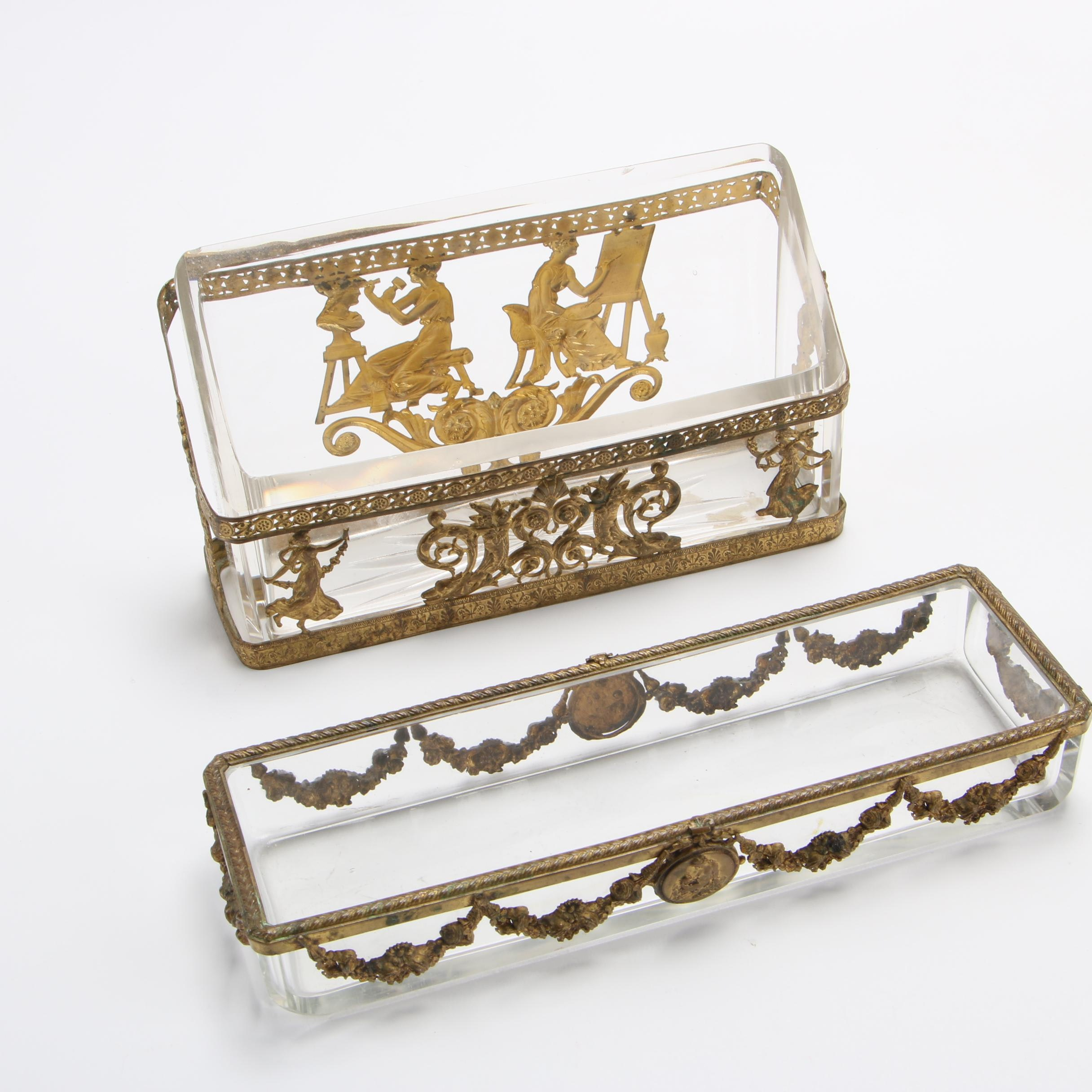 Metal and Cut Glass Neoclassical Style Desk Accessories