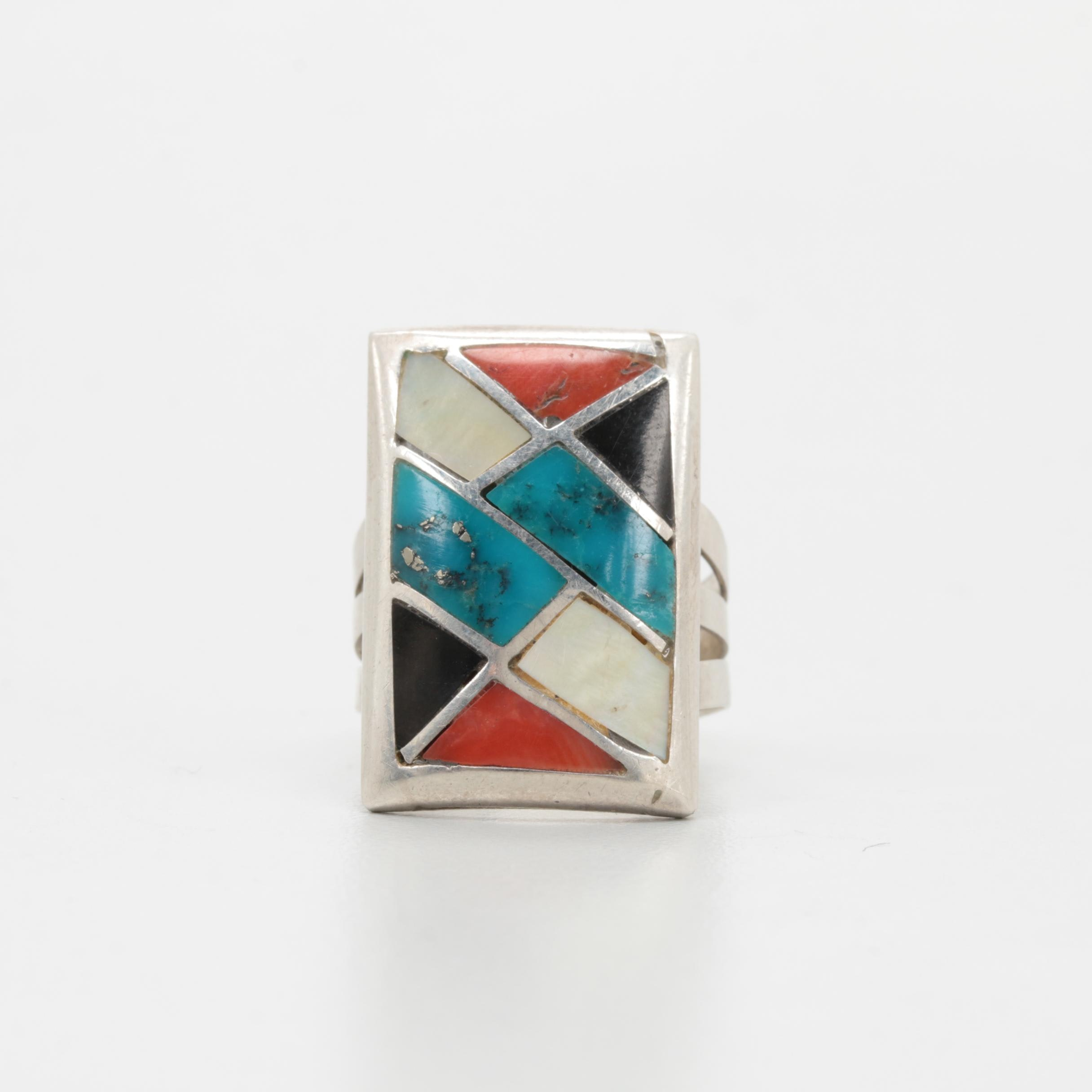 Benson Sam Navajo Diné Sterling Silver Turquoise and Gemstone Inlaid Ring