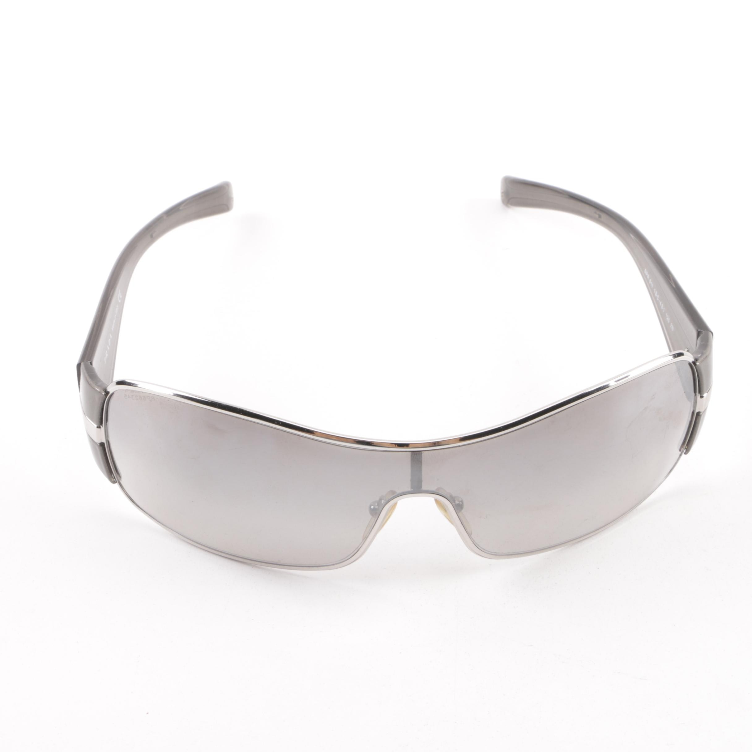 Prada SPR 61I Silver and Grey Shield Sunglasses