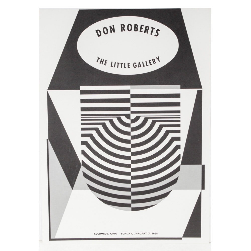 Donald Roberts 1968 Op Art Lithographic Gallery Poster