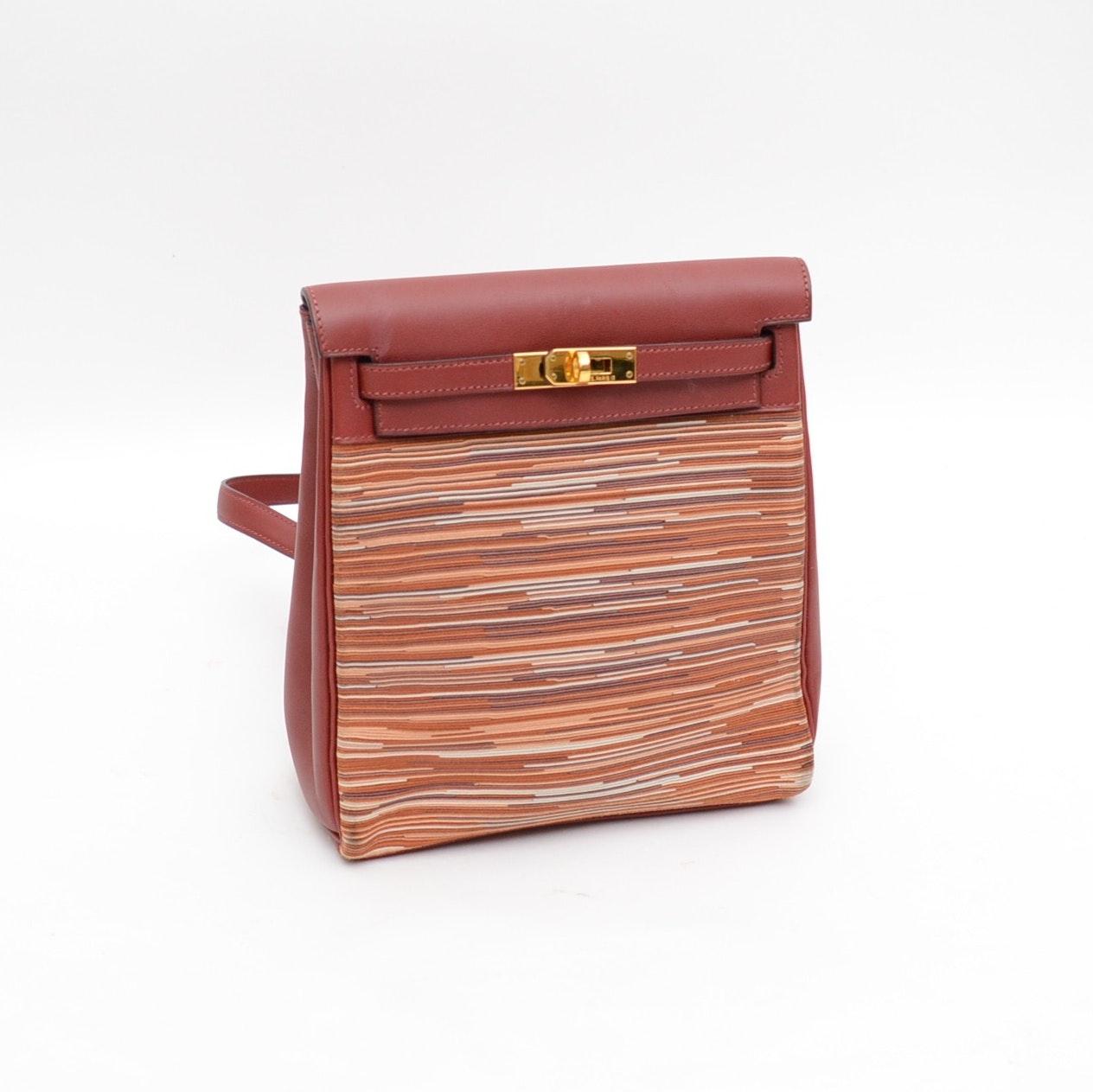 2001 Hermès of Paris Vibrato Box Leather Kelly Ado 20CM Backpack Purse