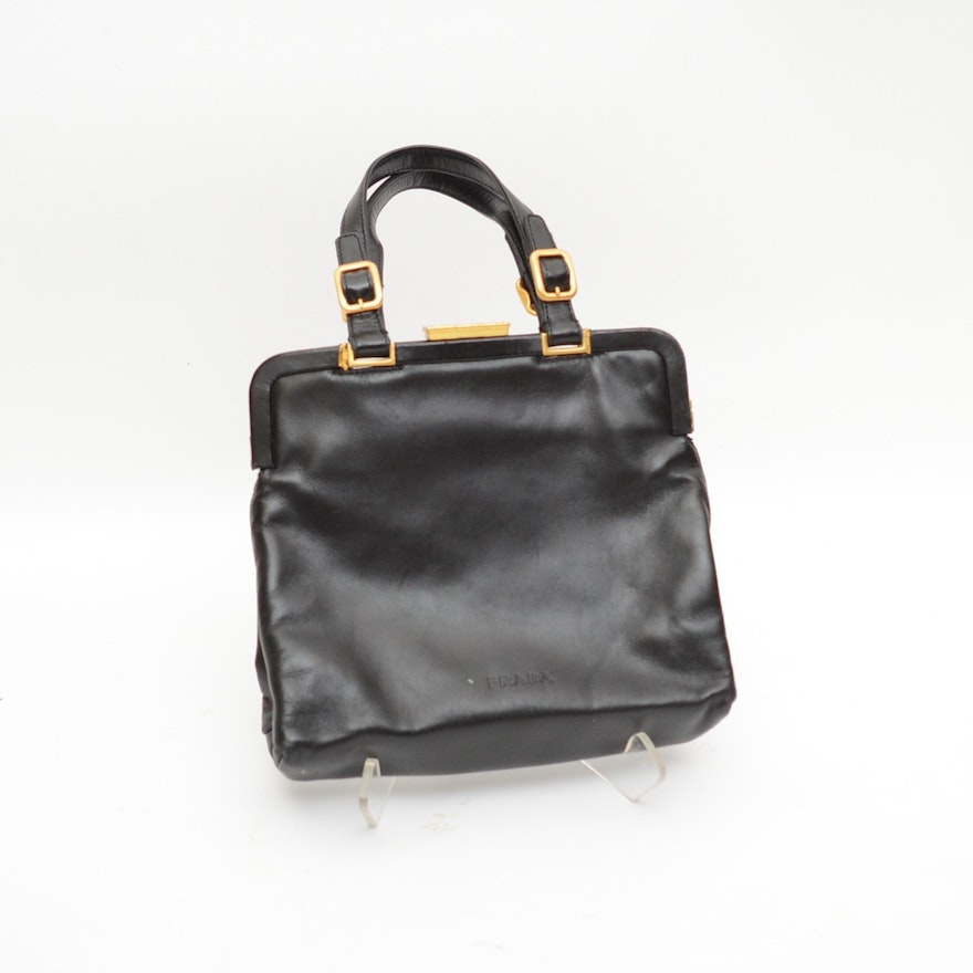 5cc4a8a5ccf128 Vintage Prada Black Leather Handbag : EBTH