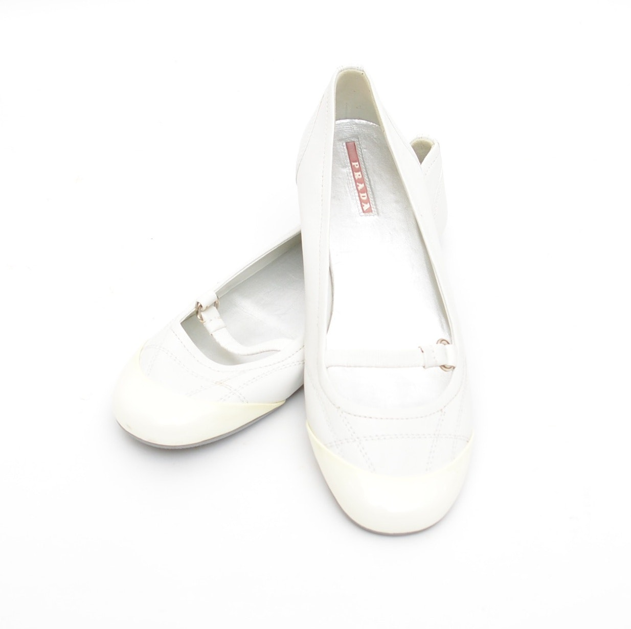 Prada White Leather Ballet Flats
