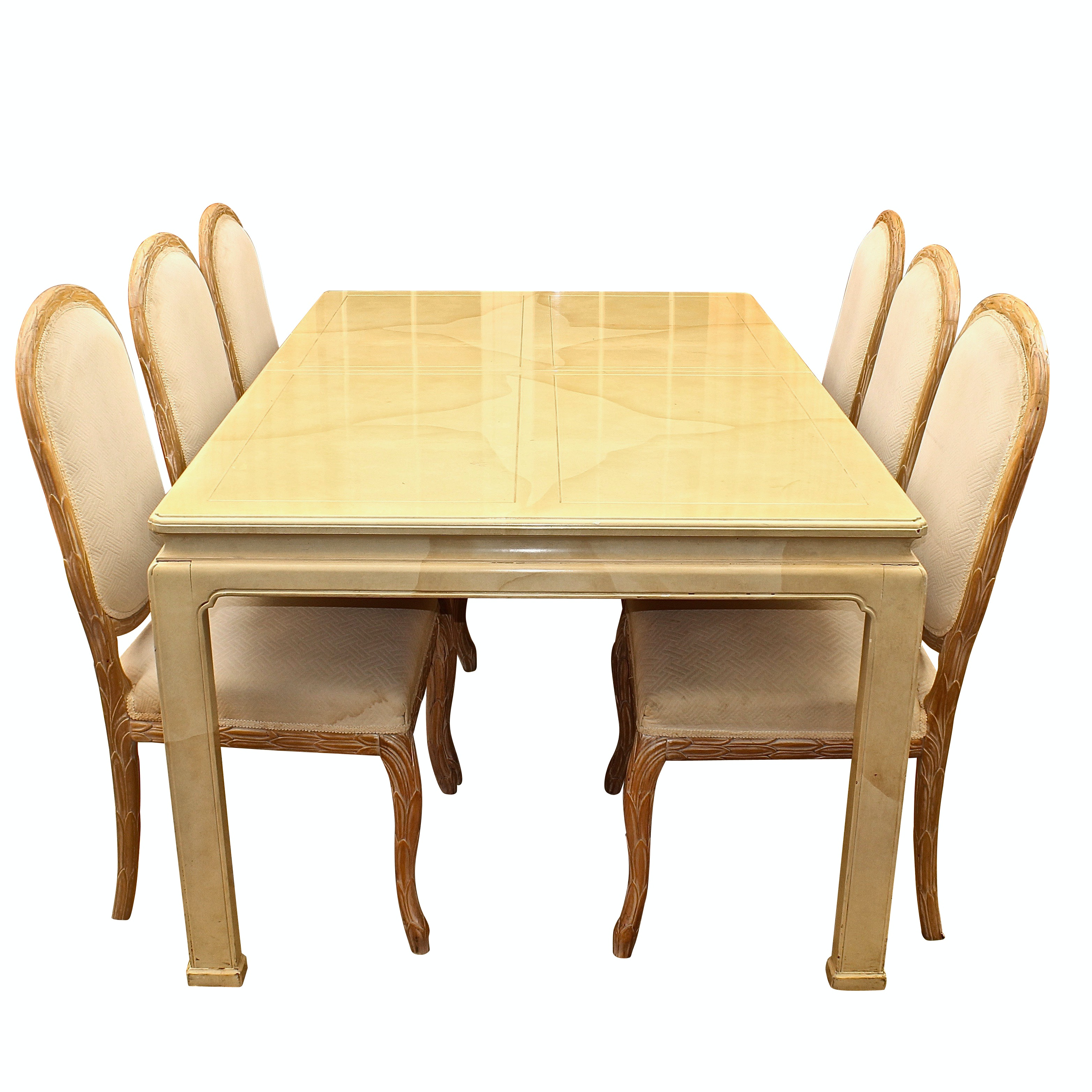 Wood Laminate Dining Table with Upholstered Side Chairs, Late 20th Century