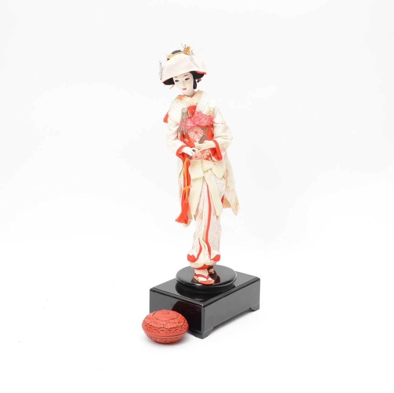 Japanese Silk Doll Music Box and Resin Trinket Box