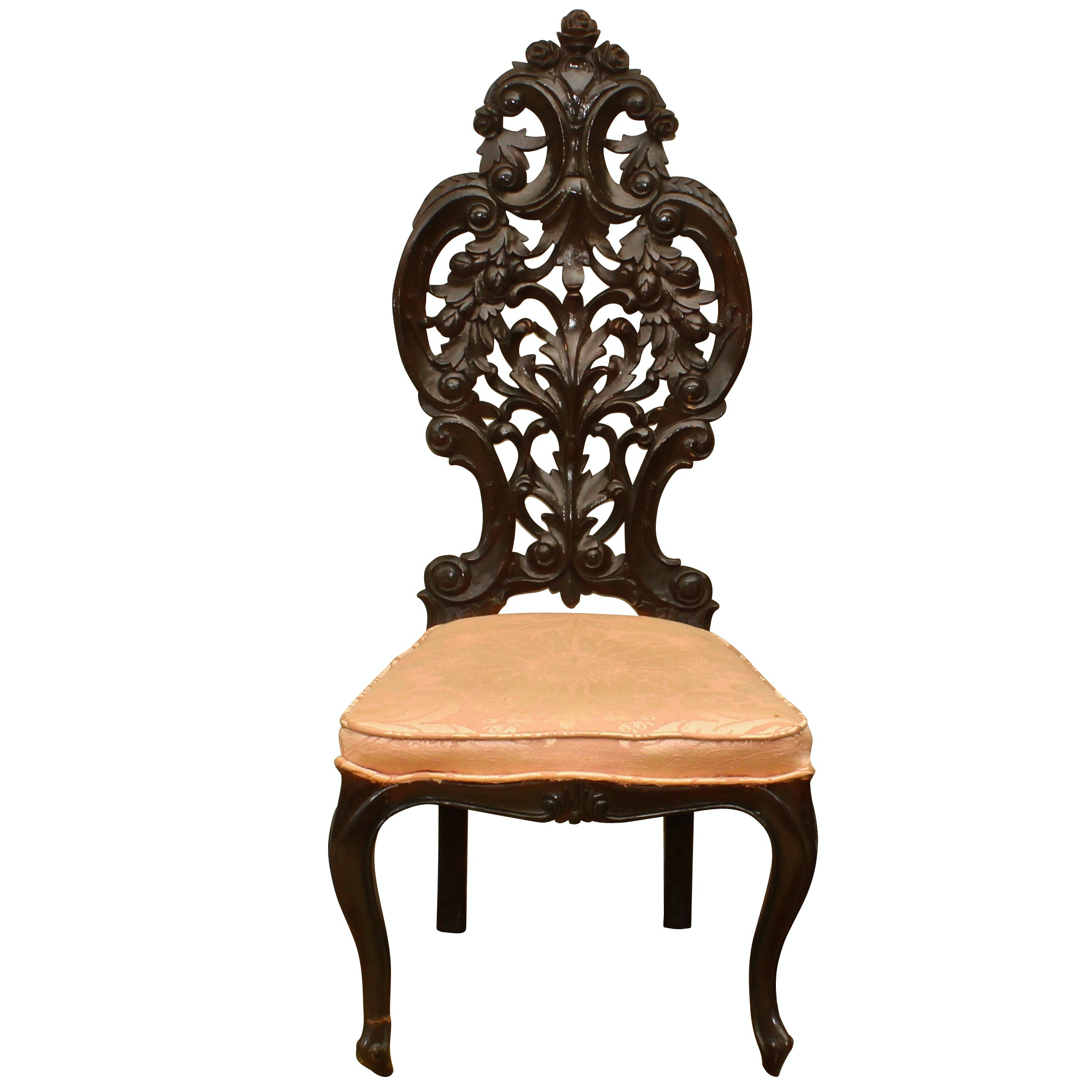 Victorian Style Carved Wood Side Chair, Early 20th Century