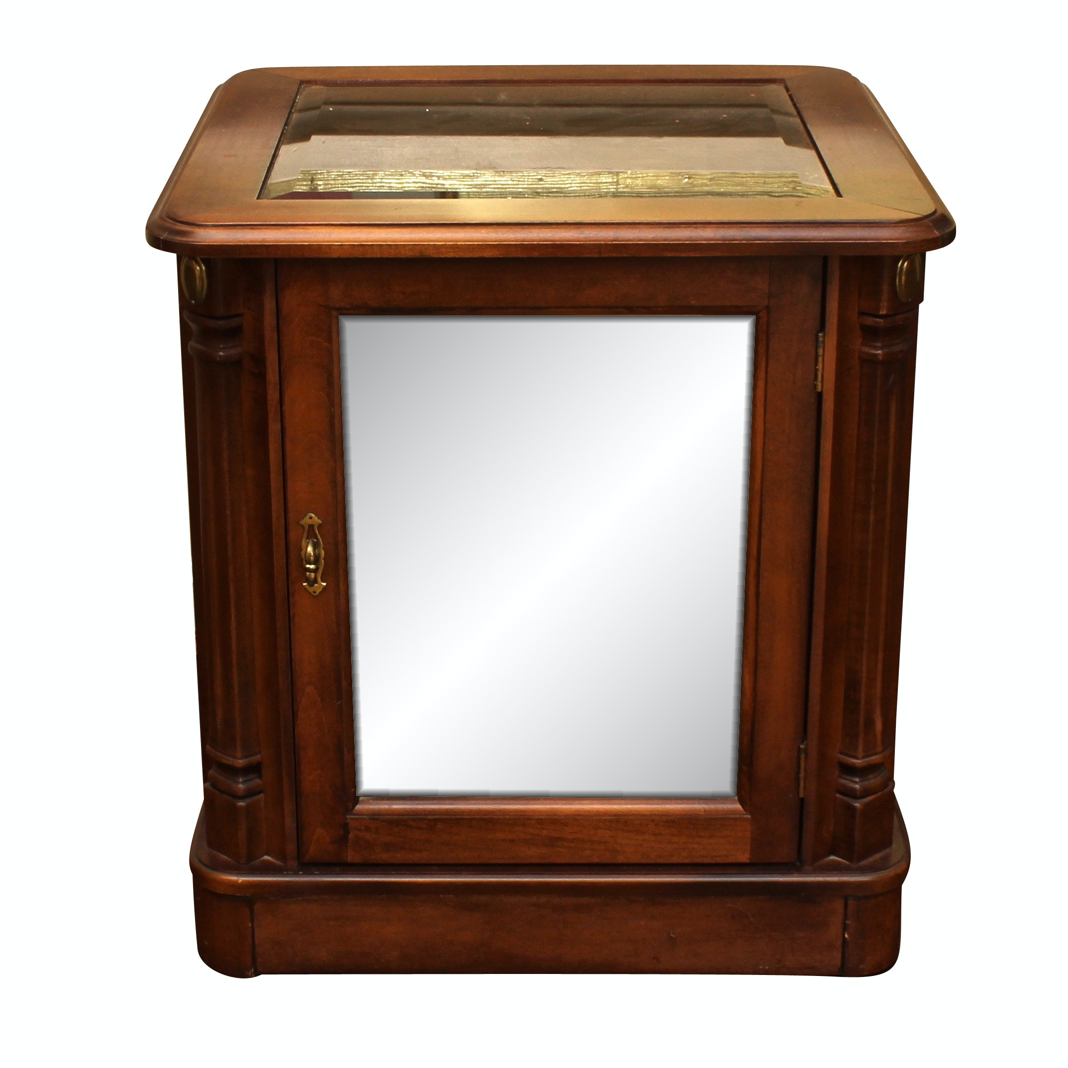 Contemporary Illuminated Curio Display Case Side Table