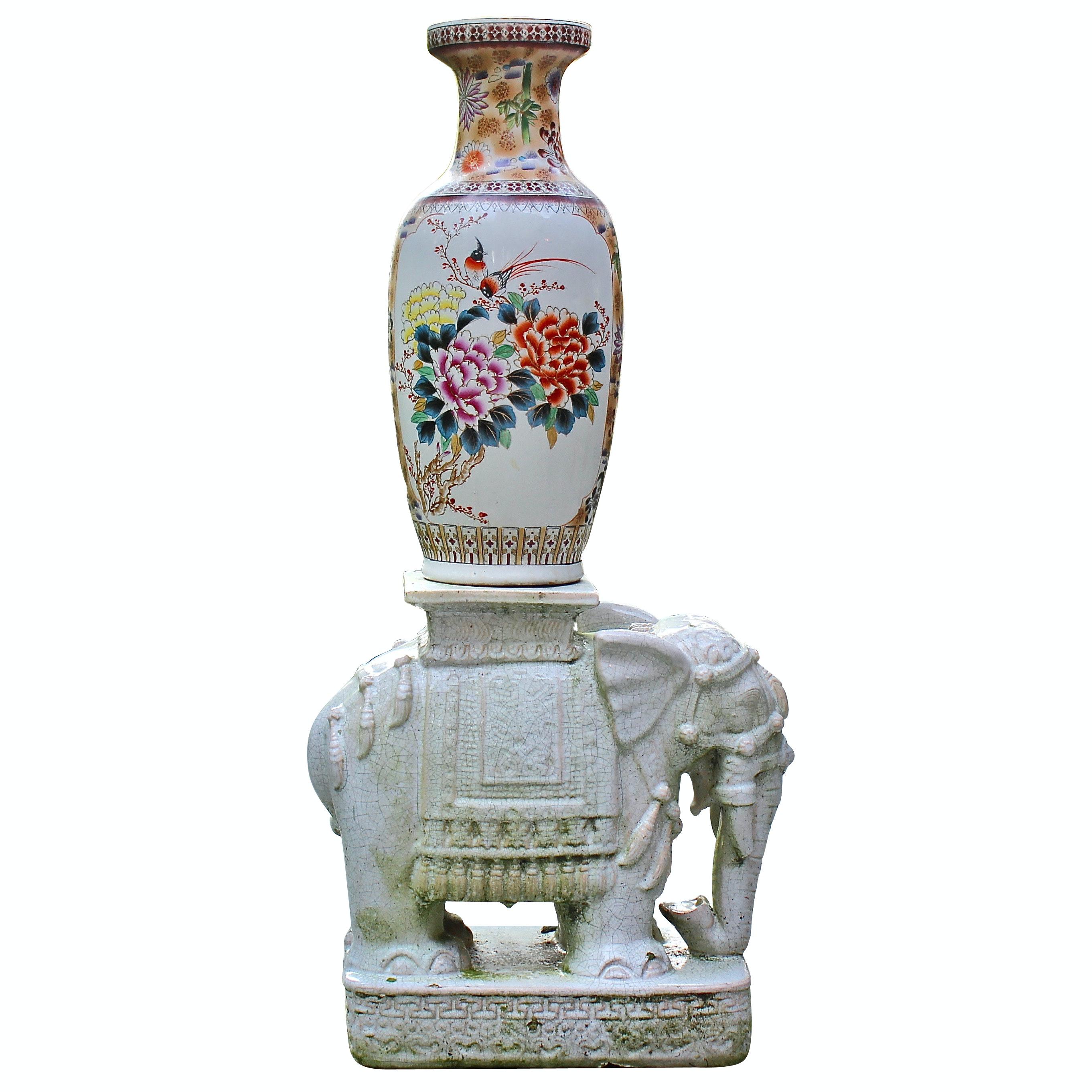 Vietnamese Elephant Garden Sitting Bench with Chinese Porcelain Vase