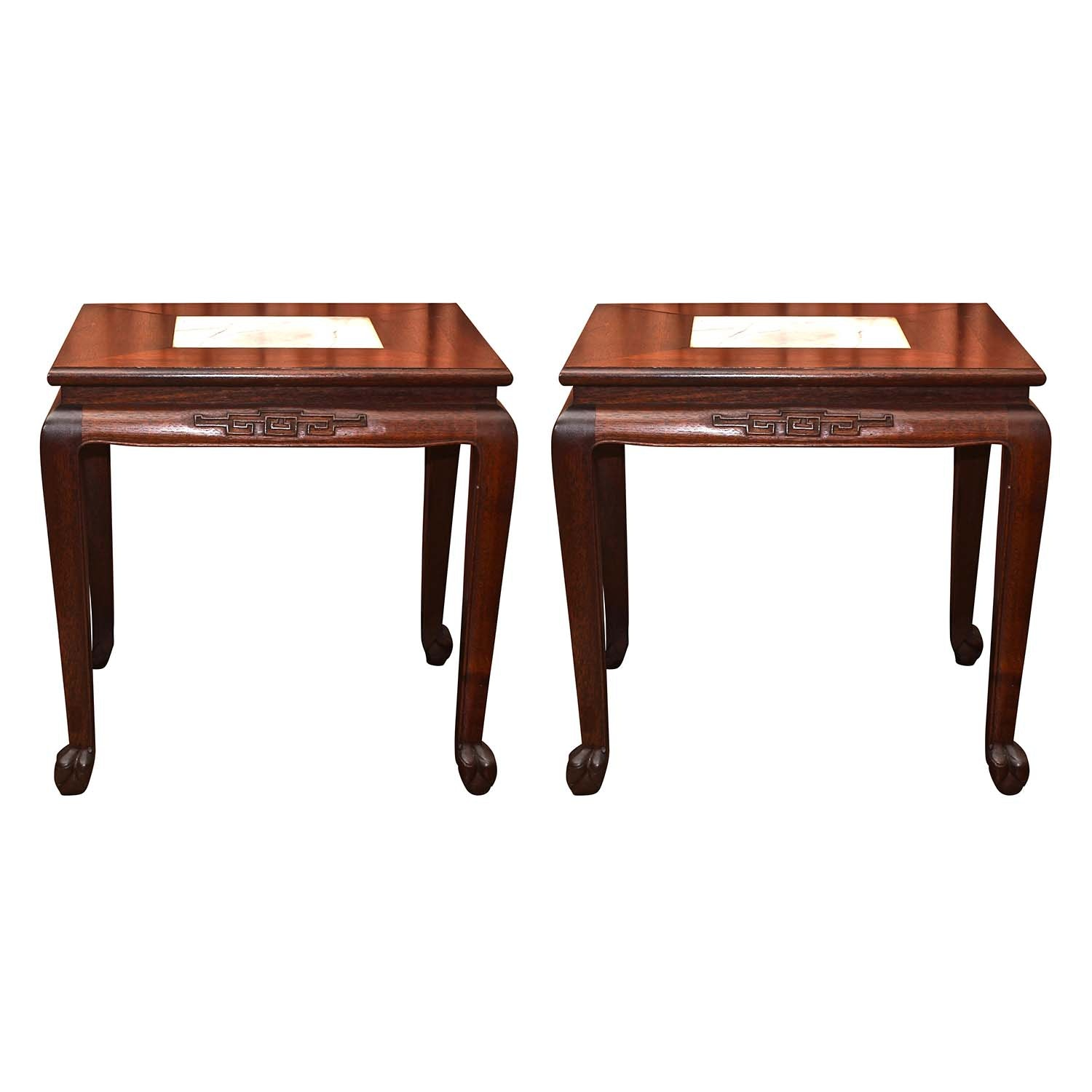 Chinese Marble Top End Tables by Ricardo Lynn & Company, Late 20th Century