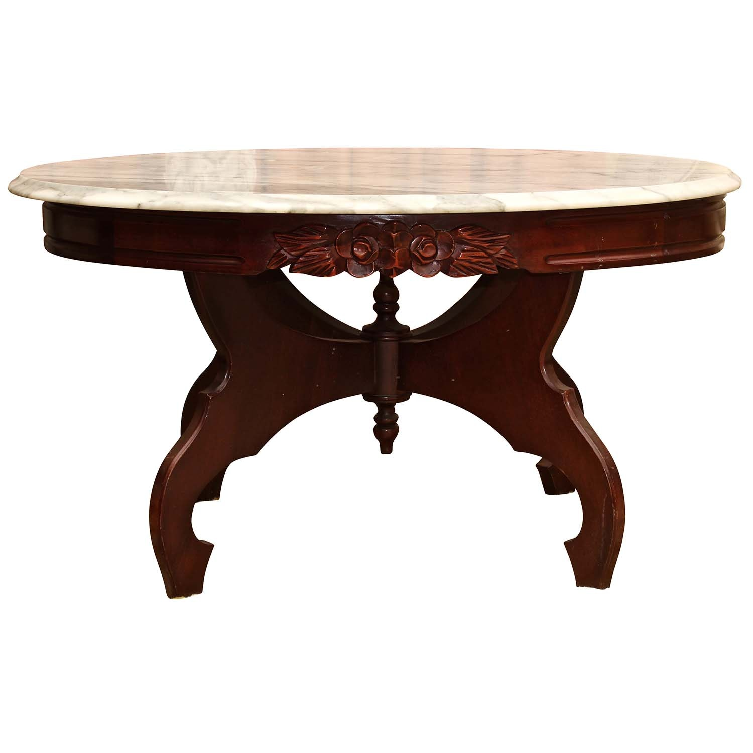 Victorian Style Marble Top Occasional Table, Late 20th Century