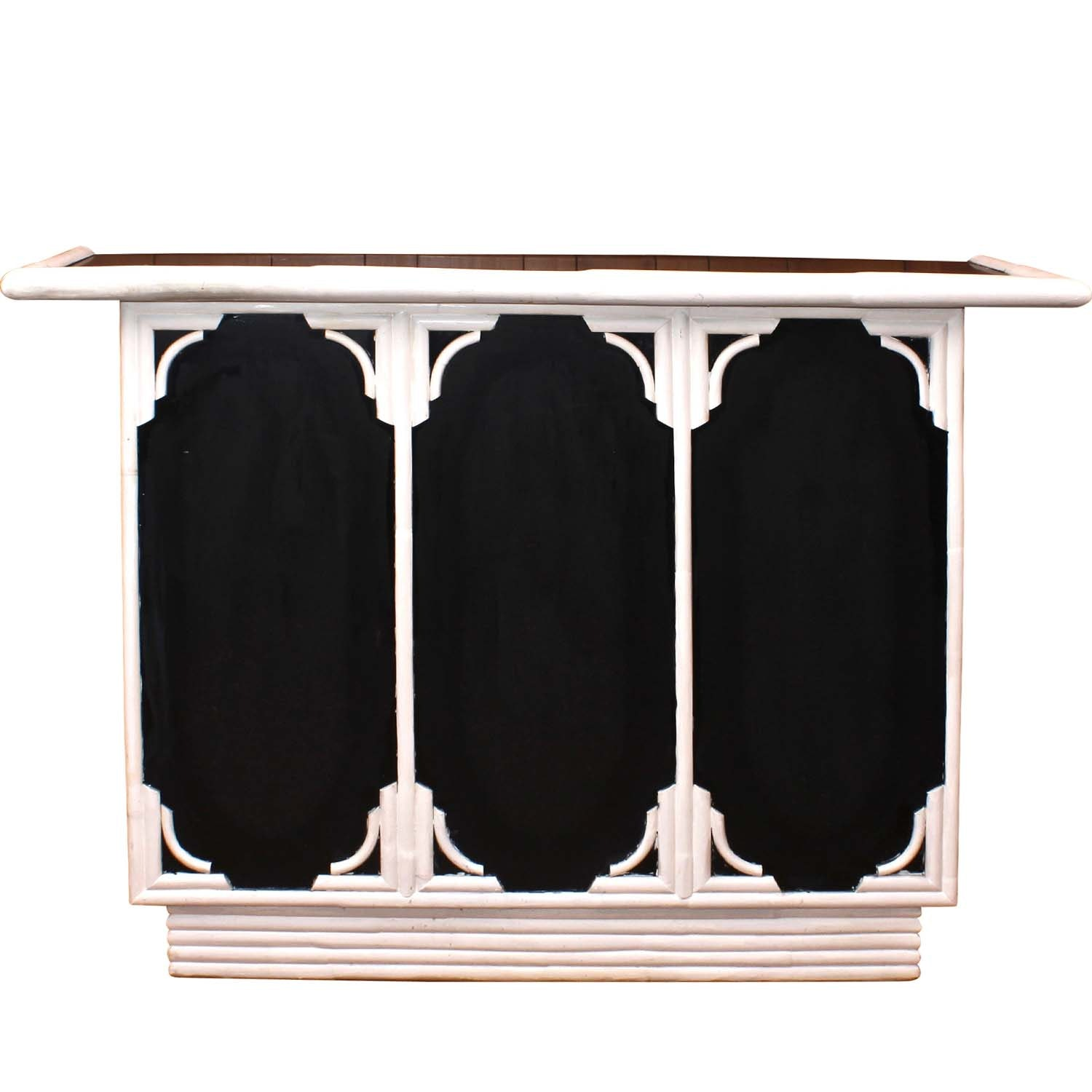 White and Black Painted Wooden Bar Cabinet, Late 20th Century