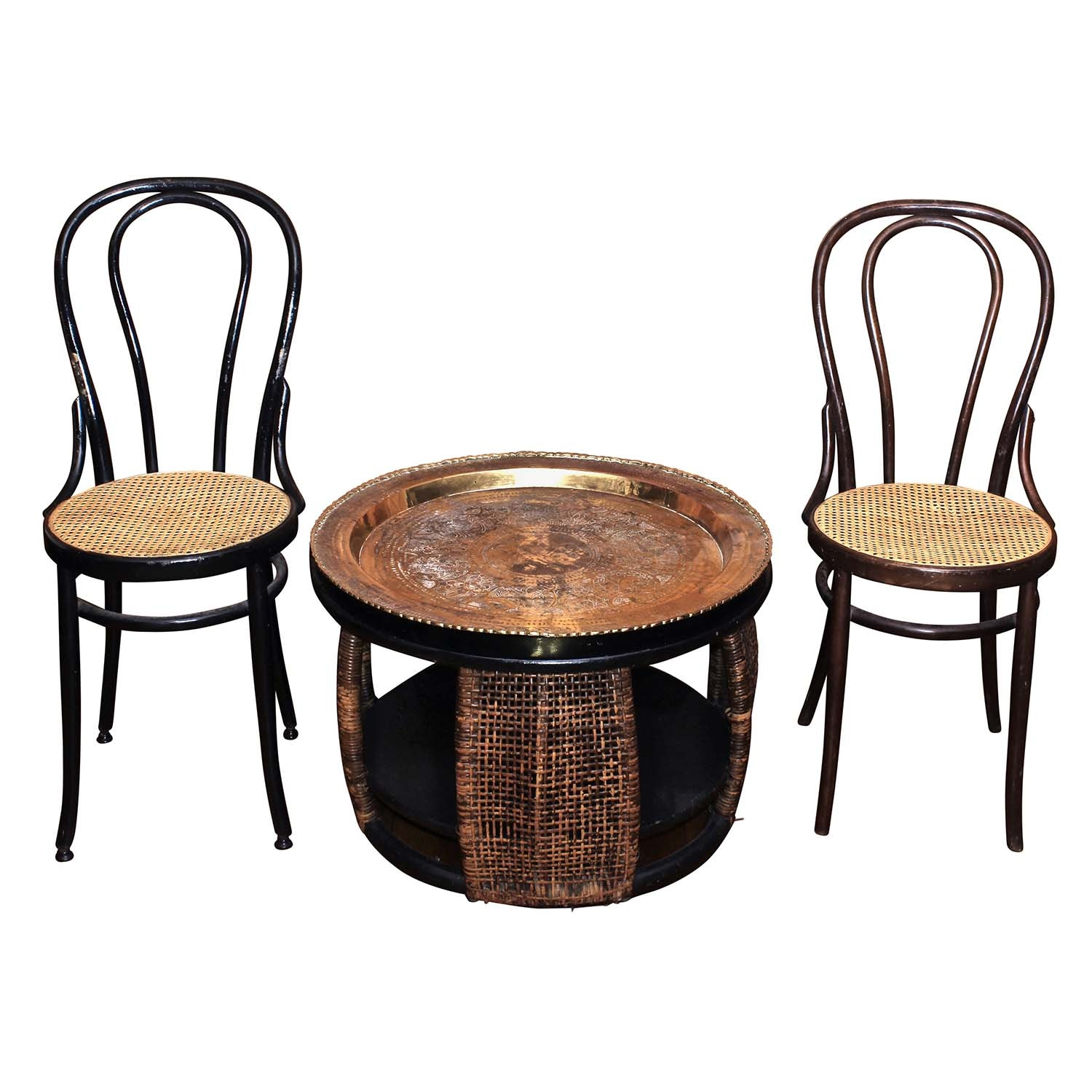 Bentwood Caned Side Chairs and Brass Tray Table, Late 20th Century