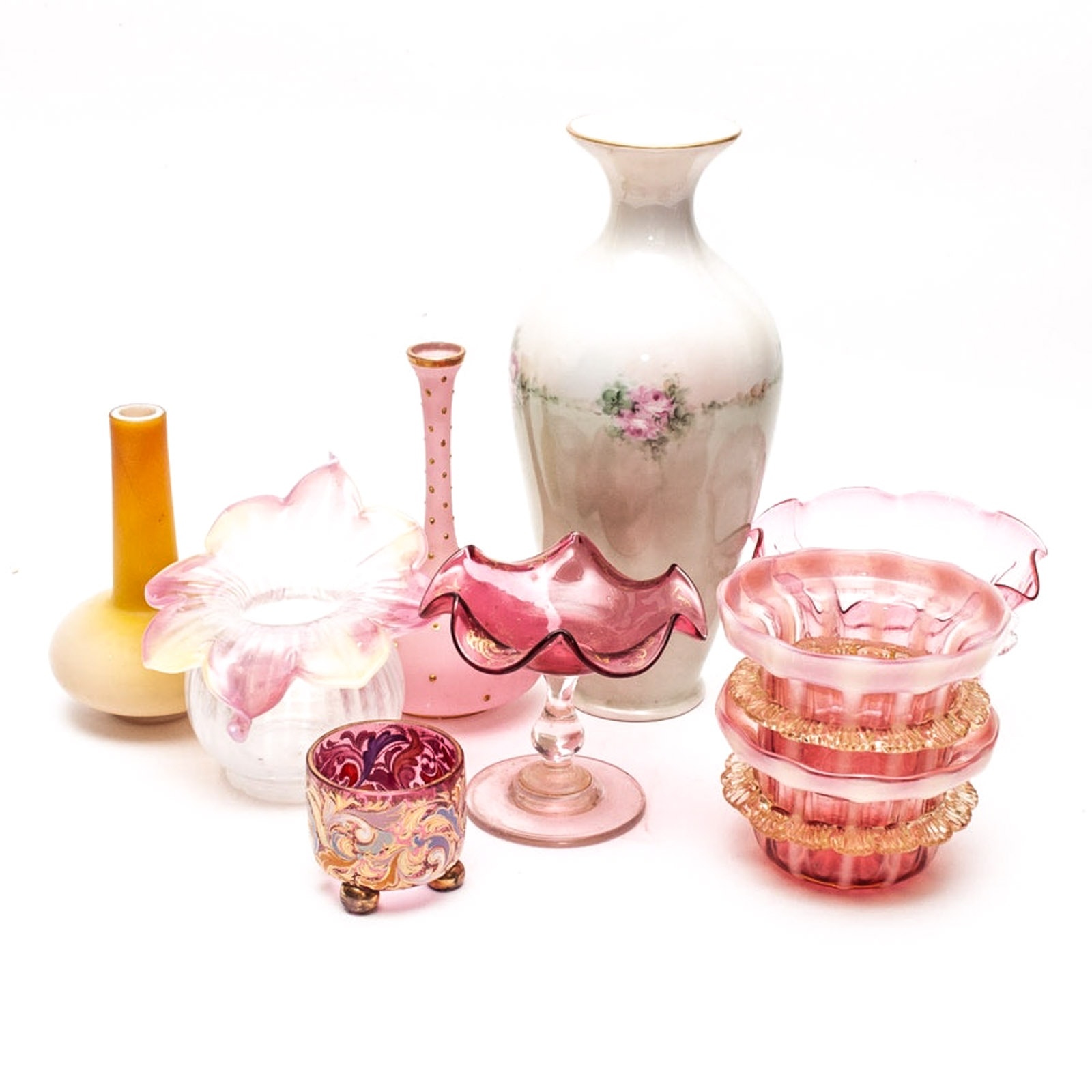 Porcelain and Glass Vases with Venetian Glass Finger Bowls