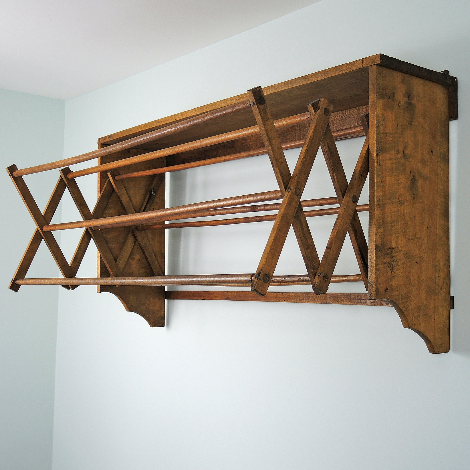 Rustic Wall-Mounted Drying Rack, Mid 20th Century