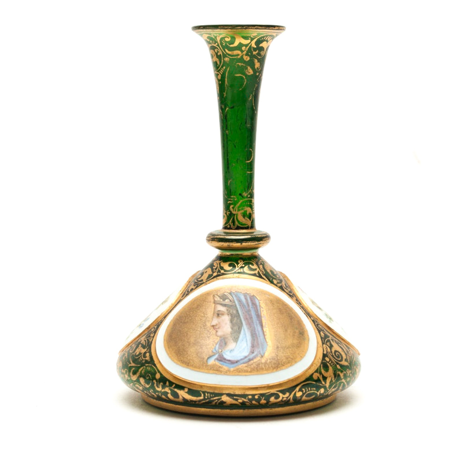 Bohemian Glass Portrait Vase with Enamel Accents