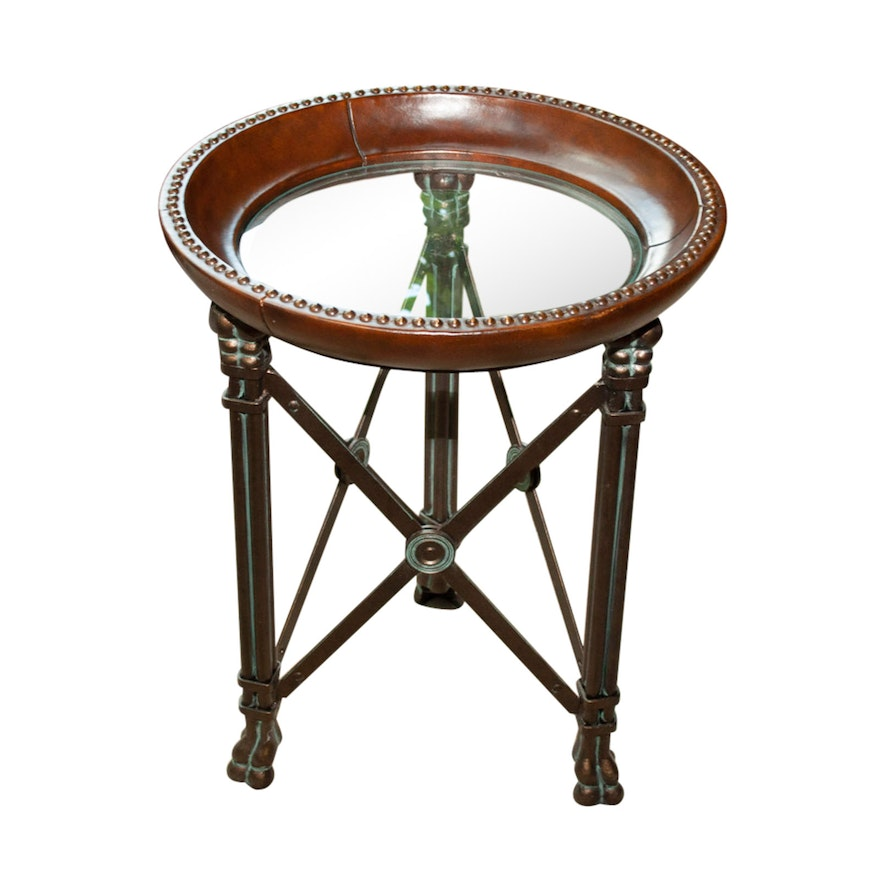 Contemporary Round Glass Topped Metal Side Table
