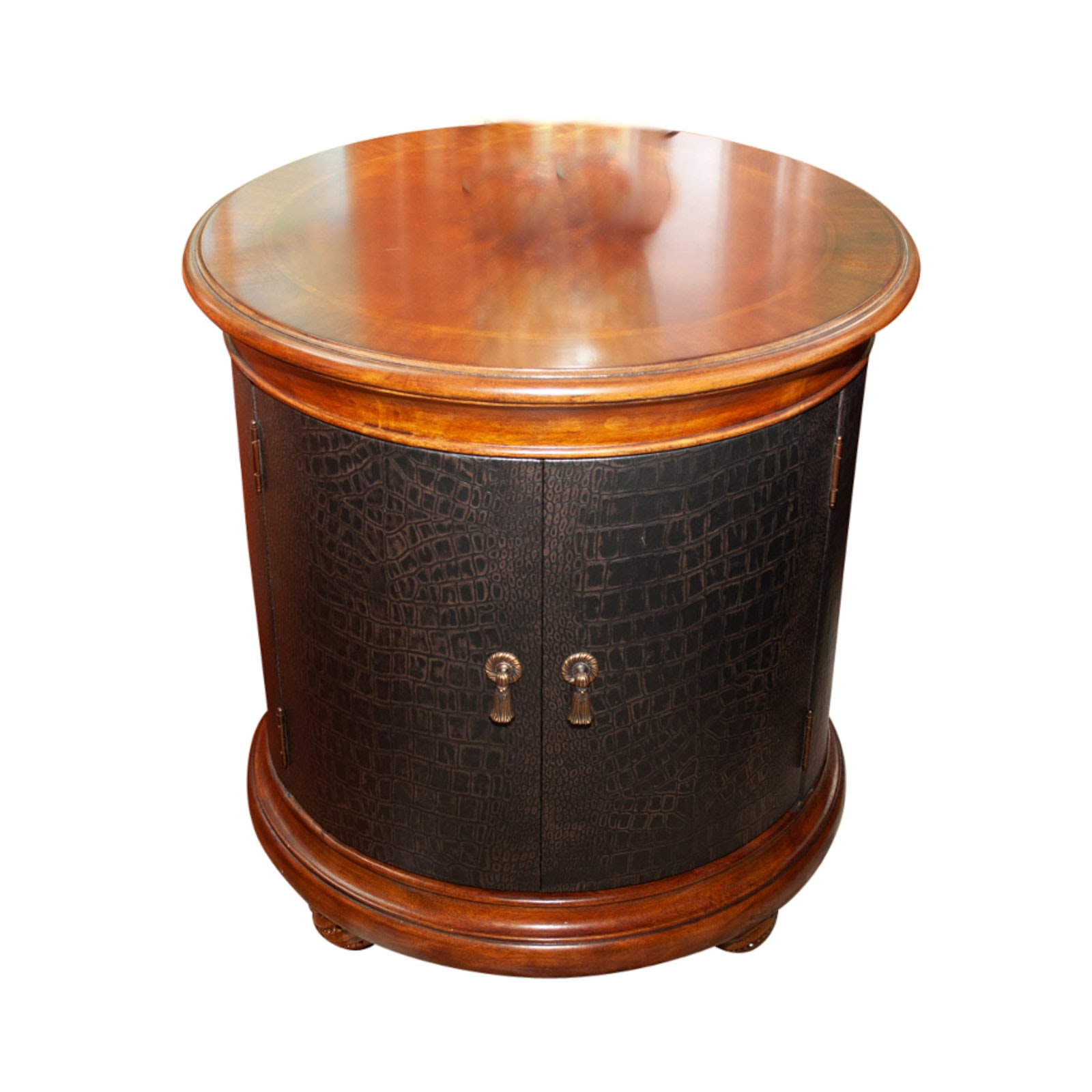 Contemporary Wood and Faux Leather Round Side Table