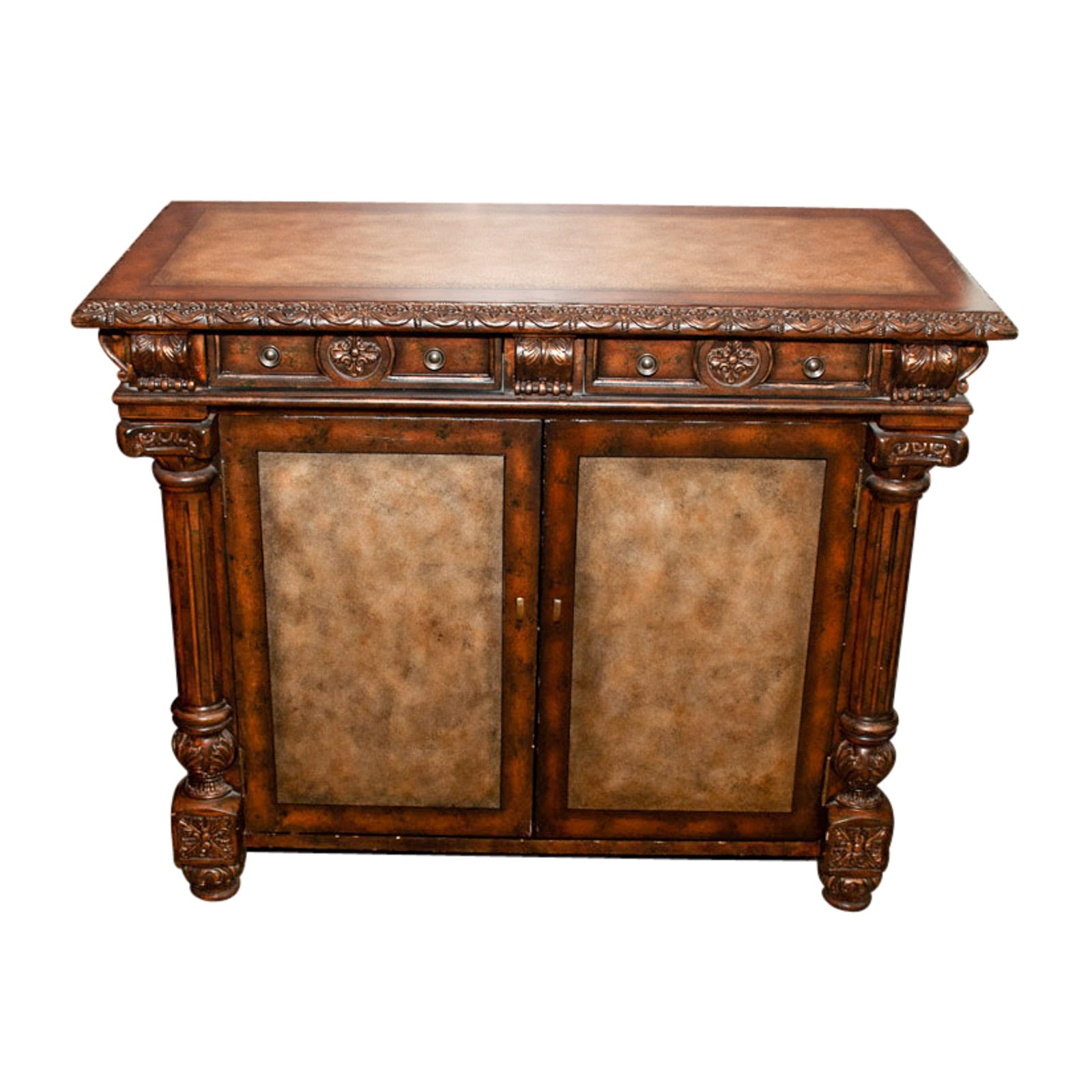 Renaissance Revival Style Wood and Leather Cabinet, Late 20th or 21st Century