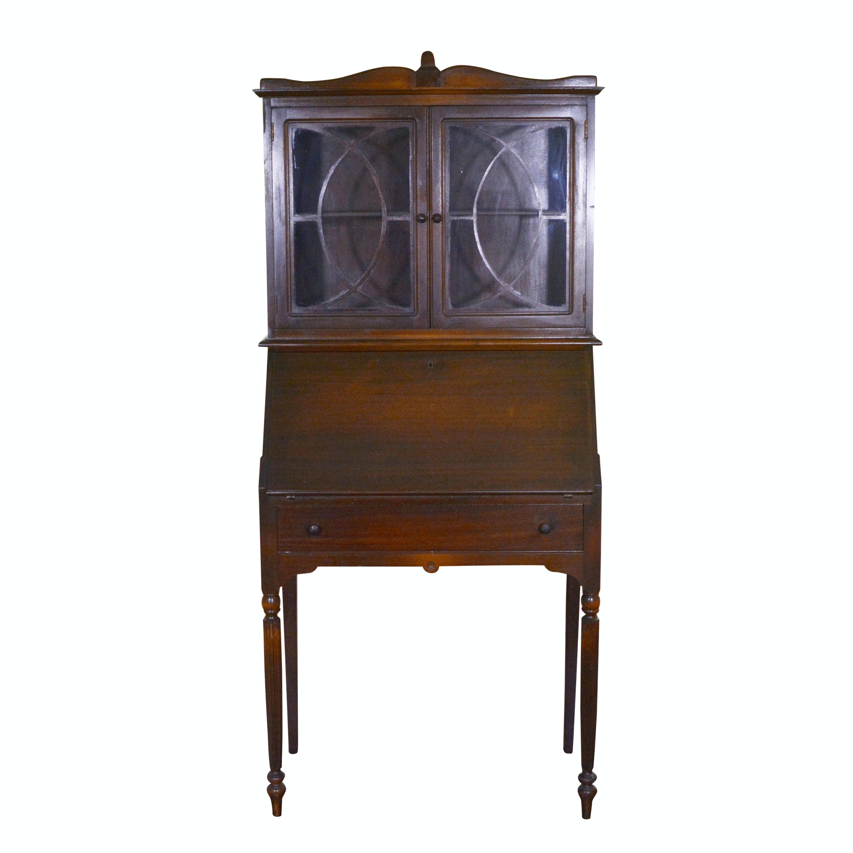Federal Style Mahogany Bookcase on Secretary, Early 20th Century