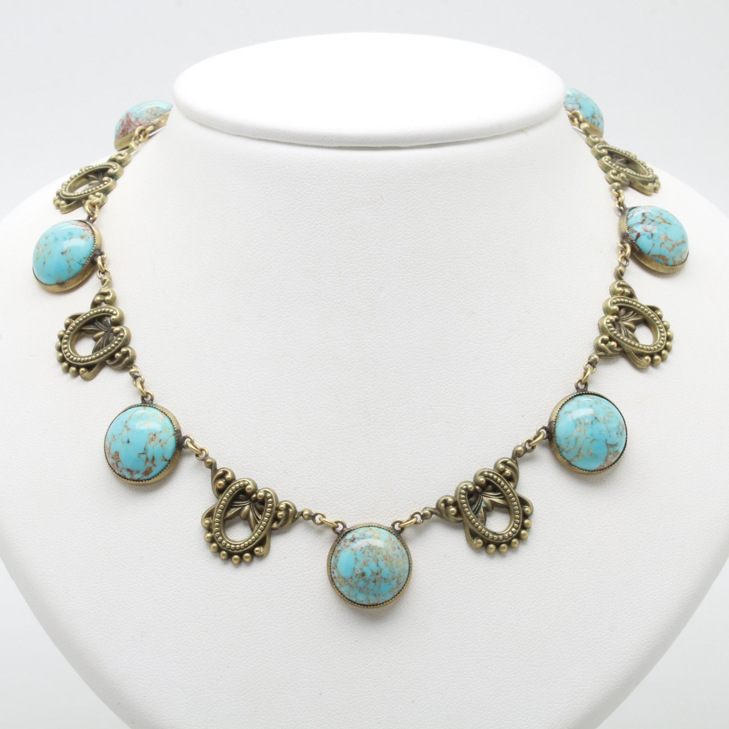 Vintage Gold Tone Glass Necklace