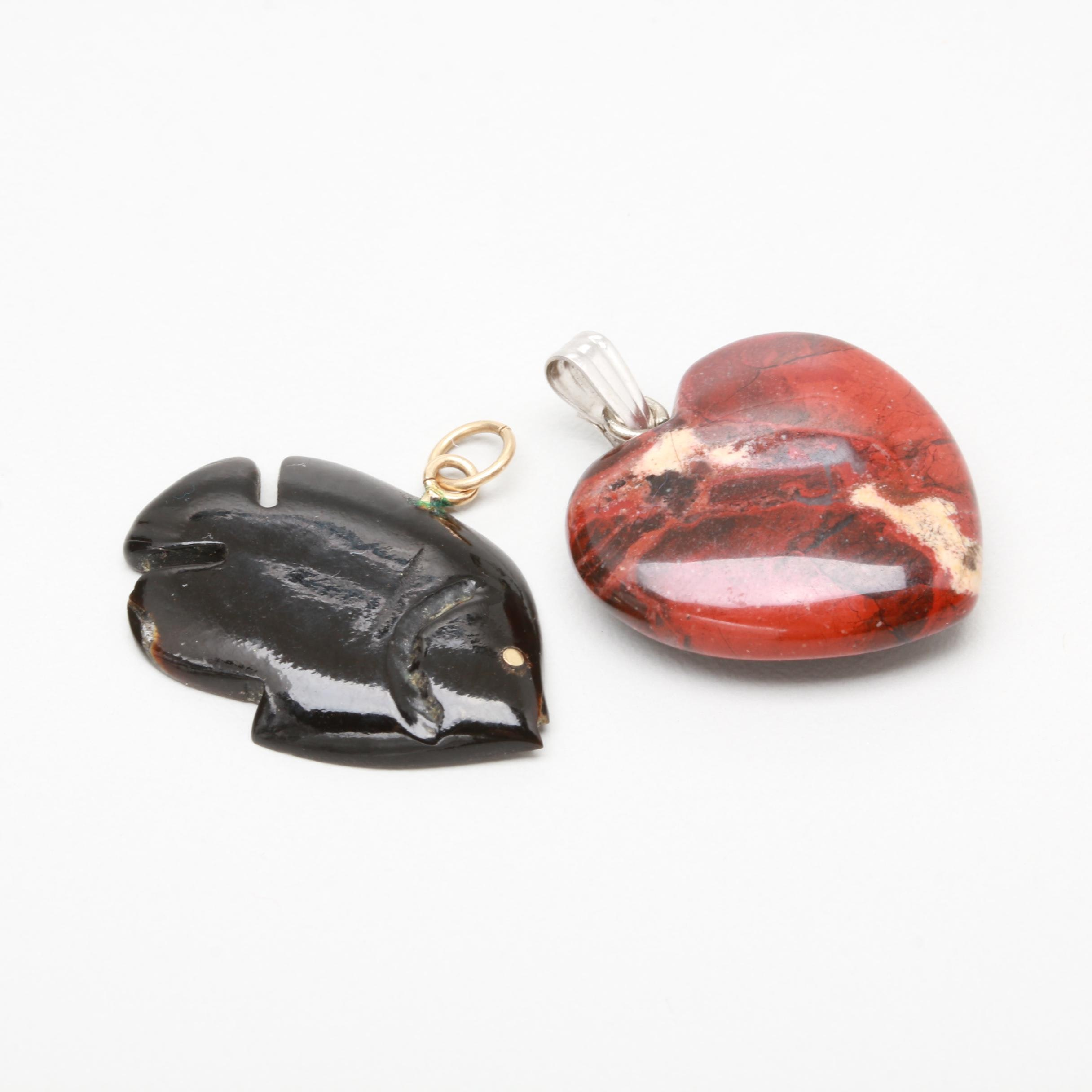 14K Yellow and White Gold Jasper and Black Coral Pendants