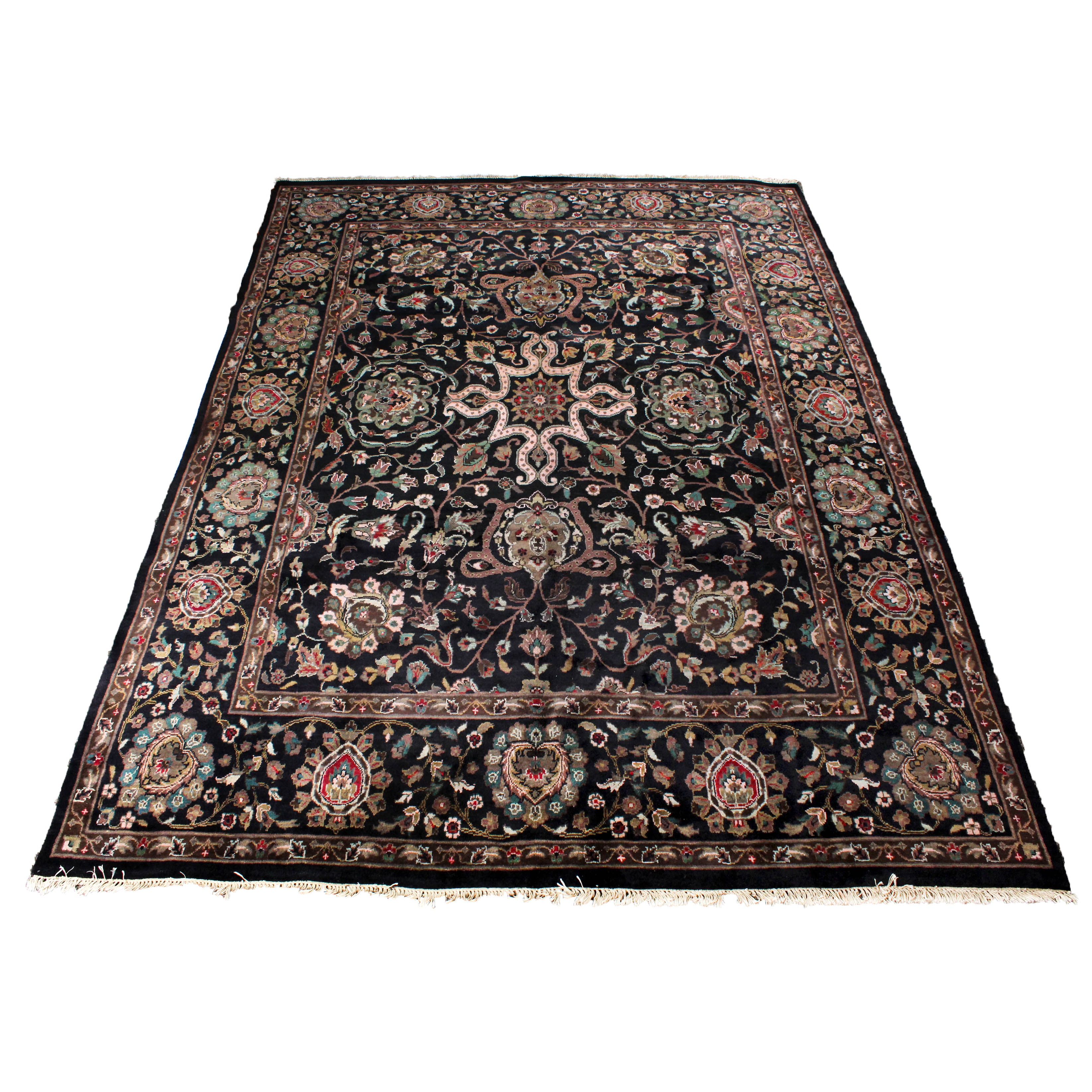 8'9 x 12'4 Finely Hand-Knotted Indo-Persian Kashan Room Size Rug