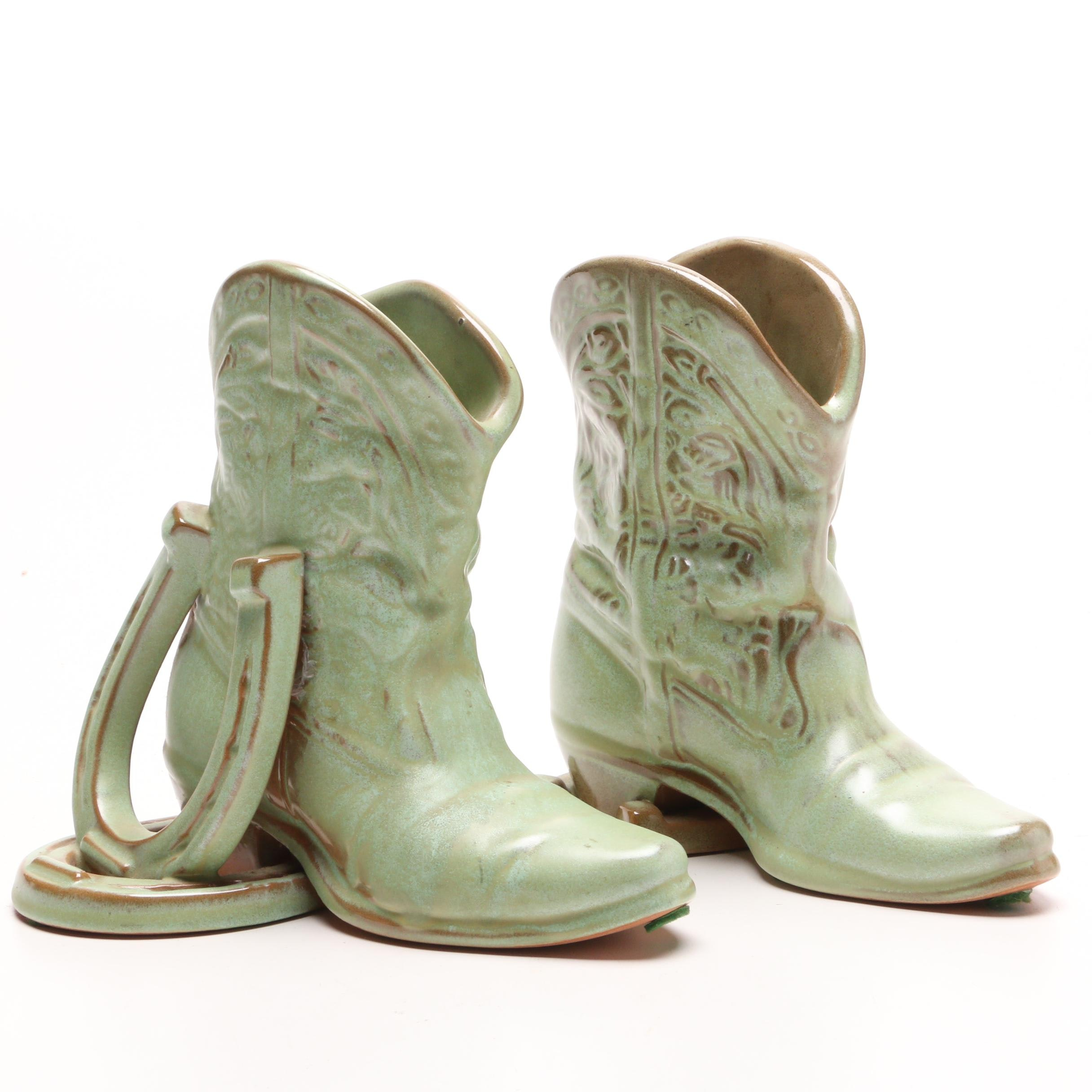 Frankoma Art Pottery Cowboy Boot Bookends