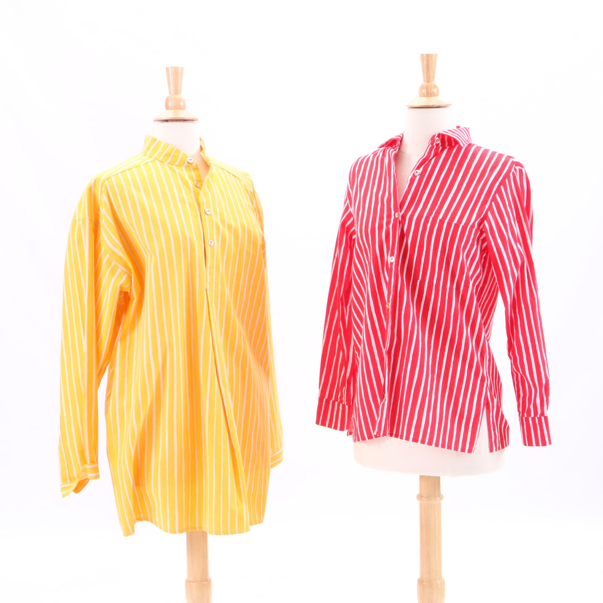 Circa 1990s Marimekko Striped Long Sleeve Shirts
