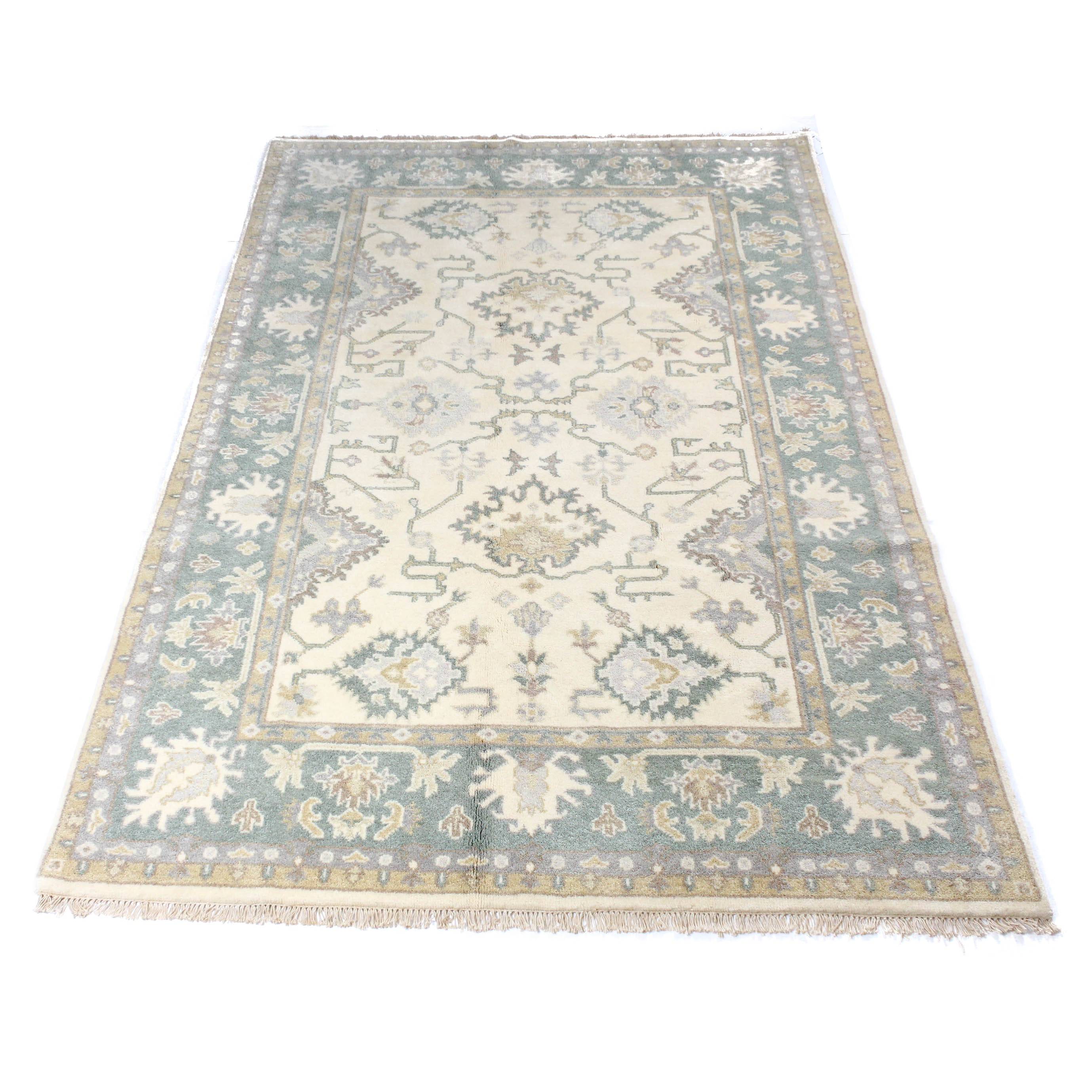 6'1 x 9'2 Finely Hand-Knotted Indo-Turkish Oushak Rug