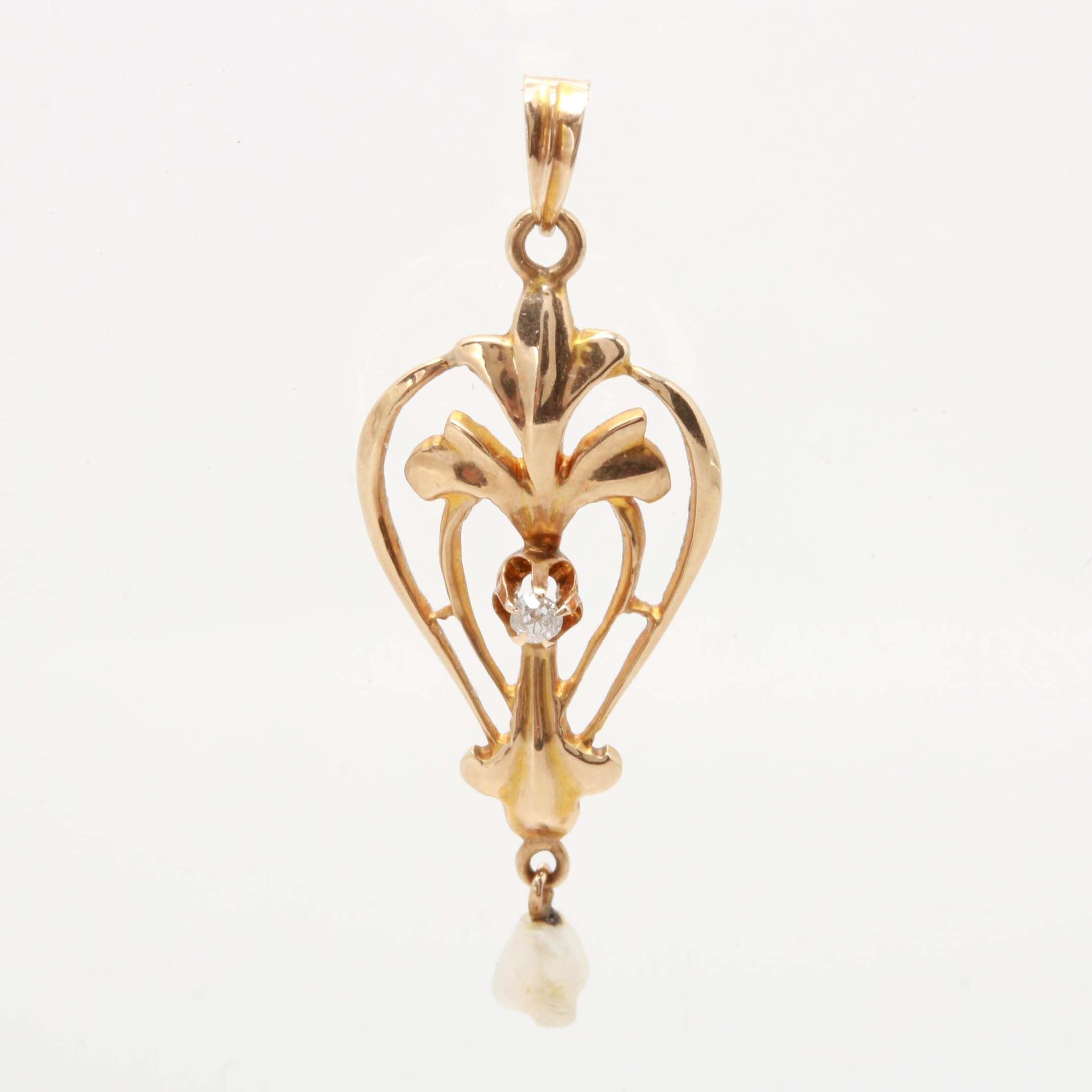 Art Nouveau 10K Yellow Gold Diamond and Cultured Pearl Openwork Pendant