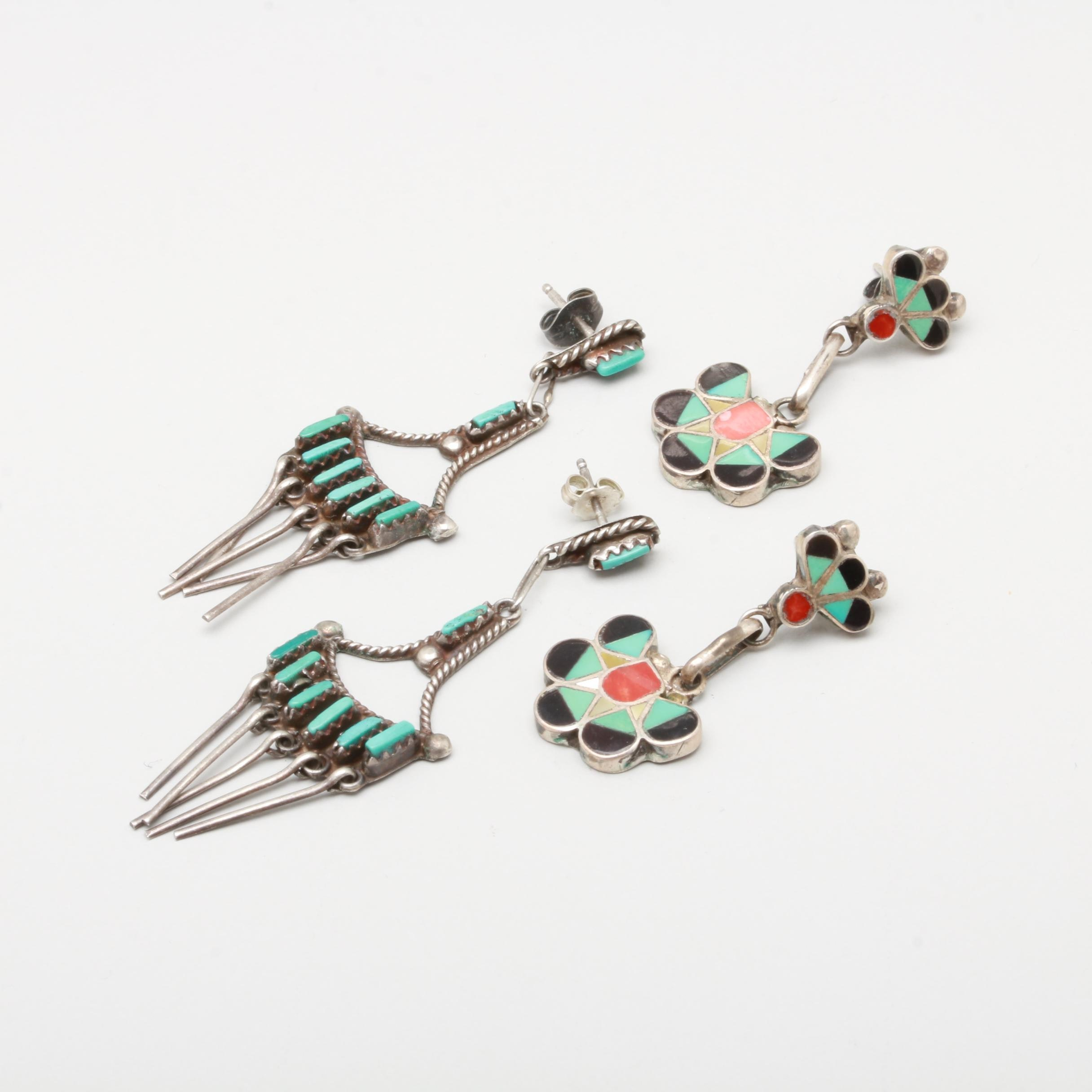 B. Sanchez and L. Lucio Zuni Sterling Turquoise and Gemstone Dangle Earrings