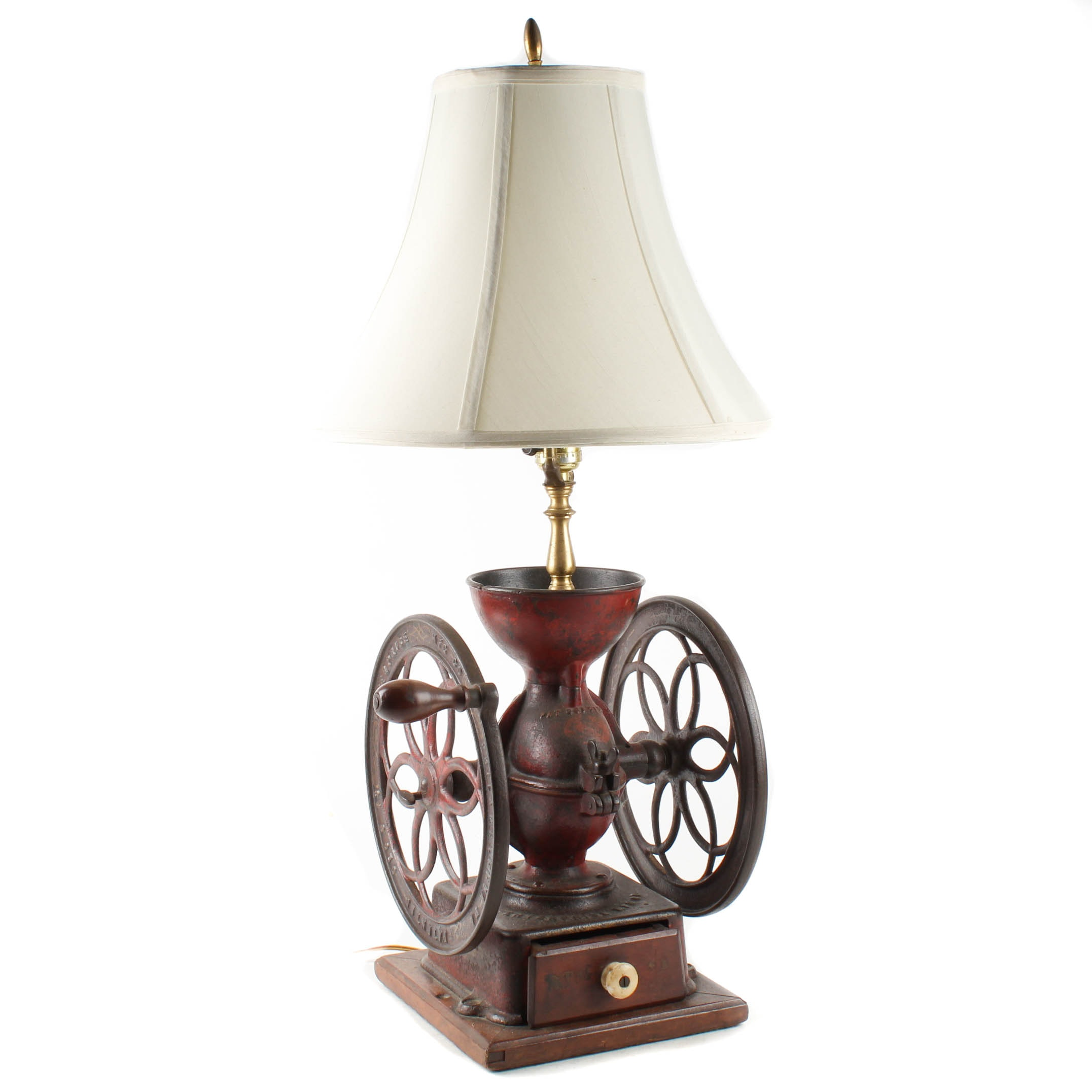 Converted Antique Coffee Grinder Table Lamp