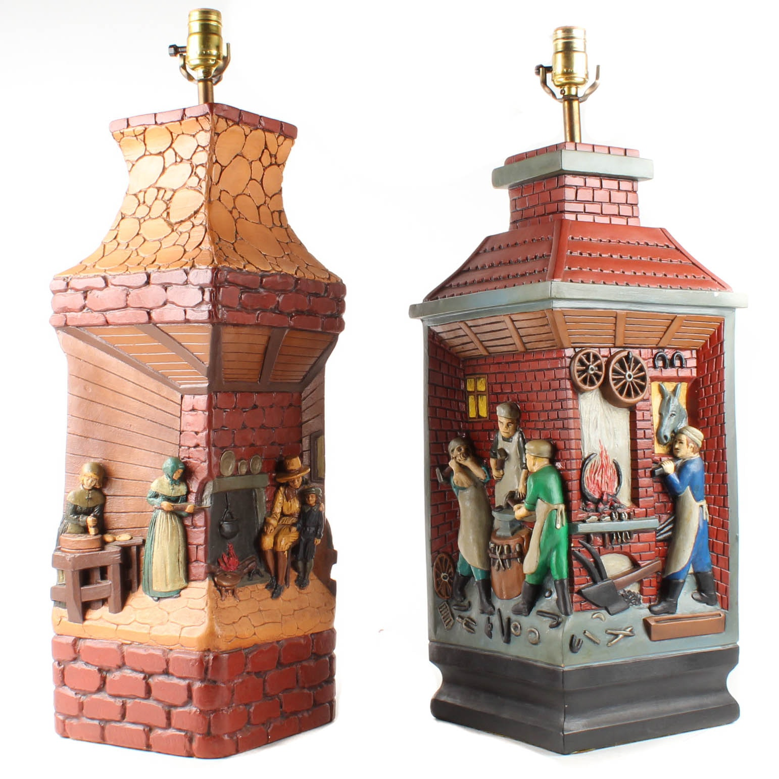 1970s Chalkware Figural Table Lamps