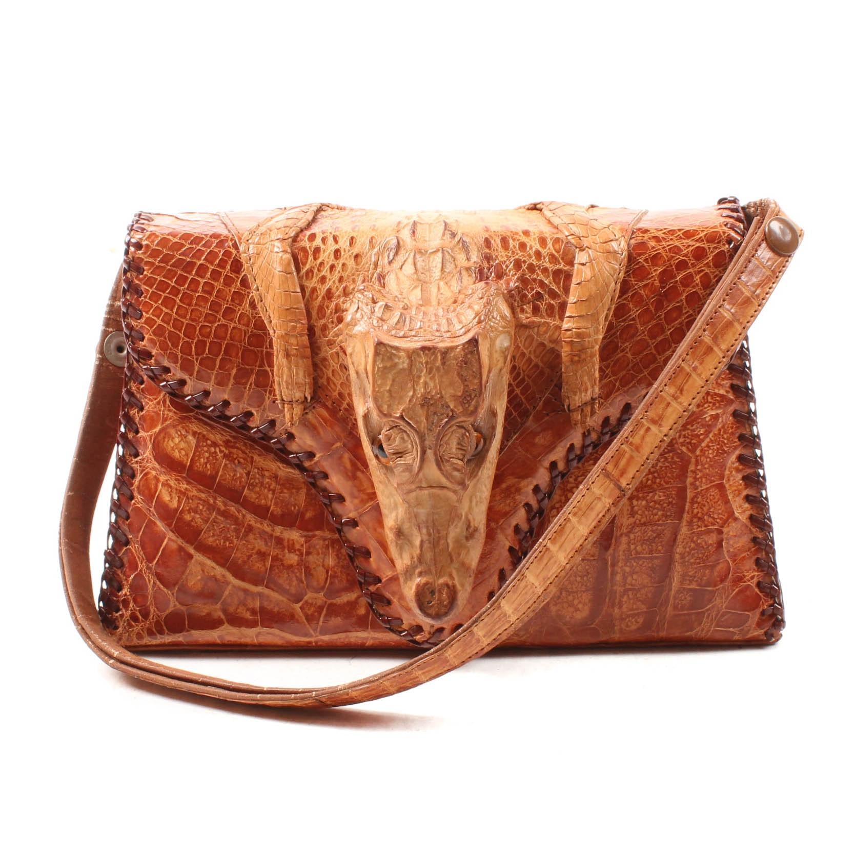Vintage Caiman Skin and Leather Handbag