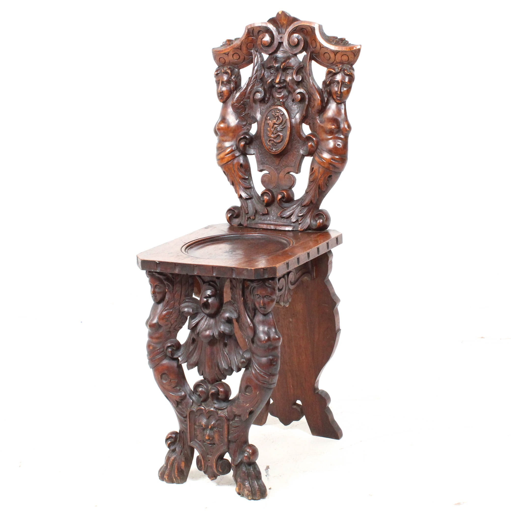 Antique Renaissance Revival Sgabello Chair in Walnut