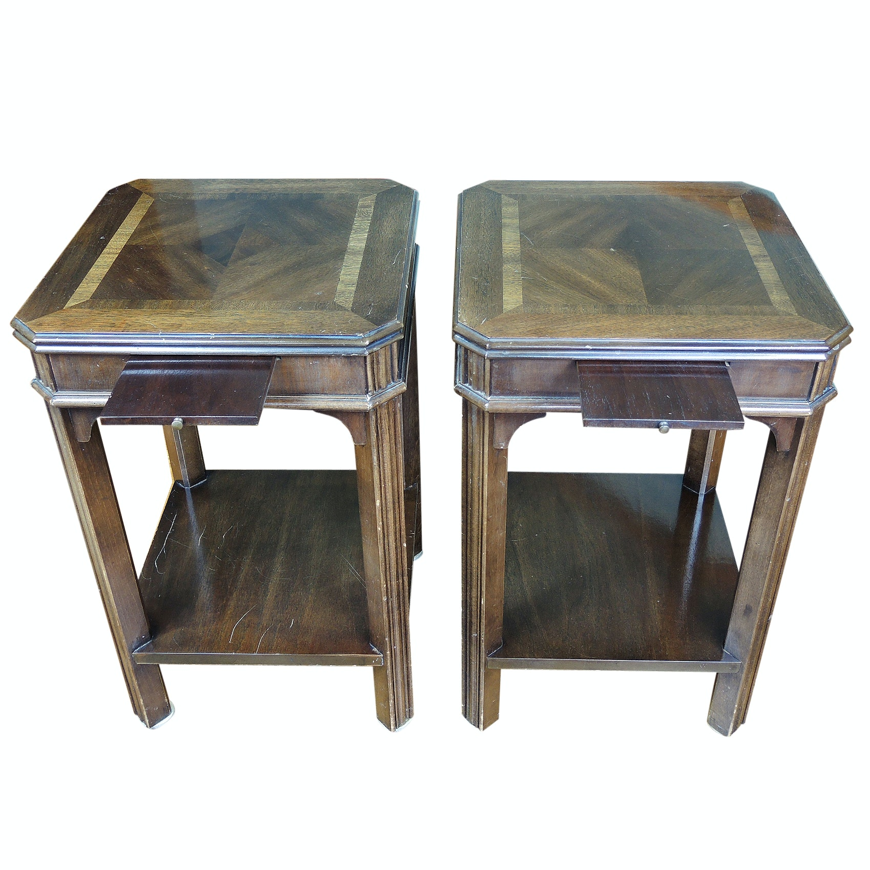 Walnut Side Tables with Sliding Panels by Lane, Late 20th Century