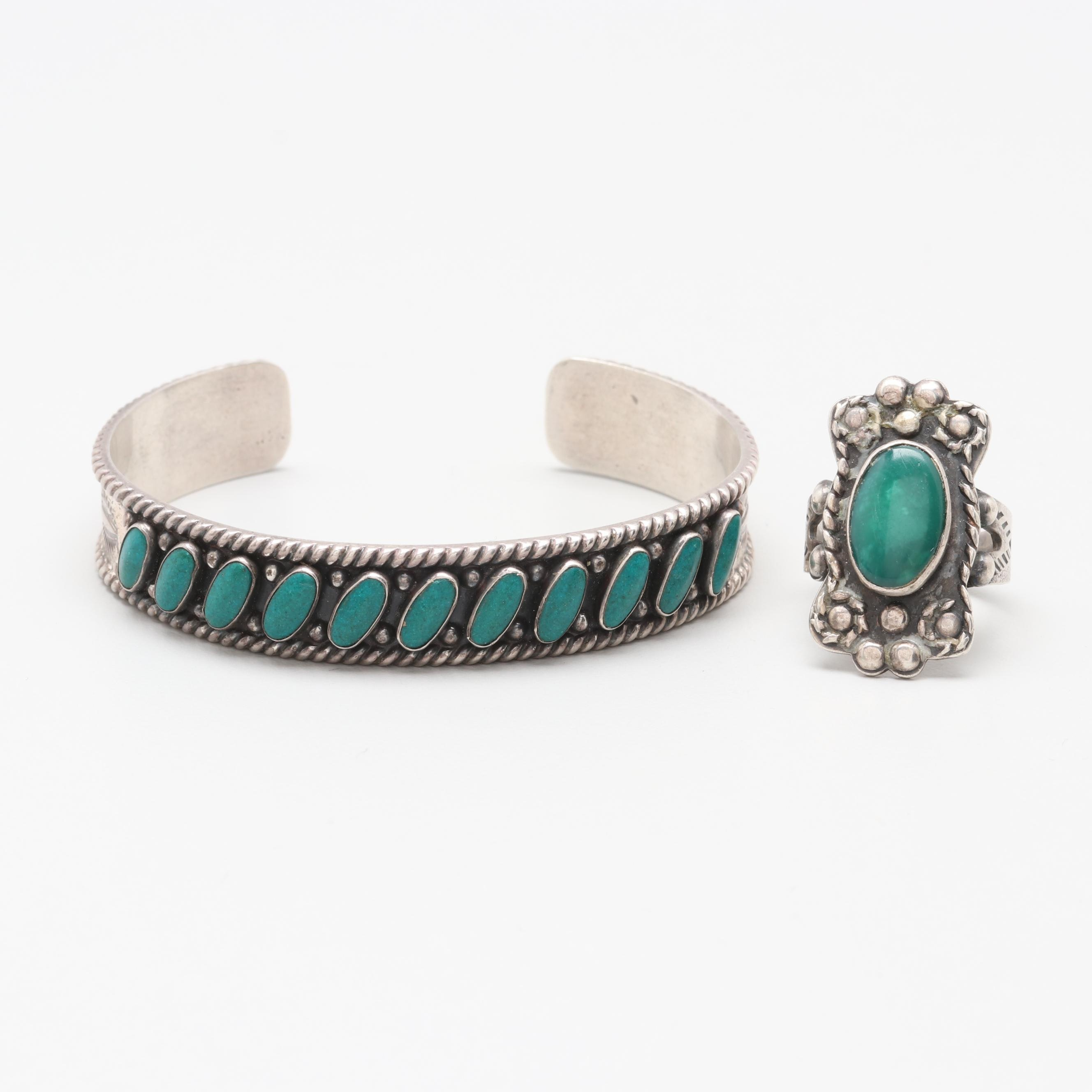 Southwestern Style Sterling Silver Turquoise Jewelry Assortment