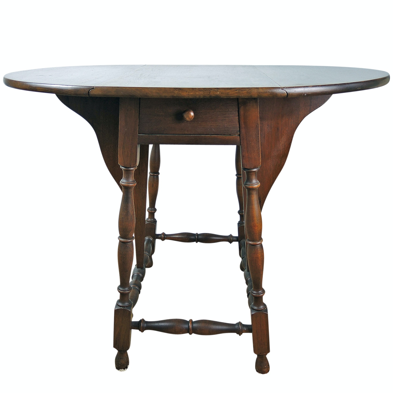 William and Mary Style Walnut Drop Leaf Table, Mid 20th Century